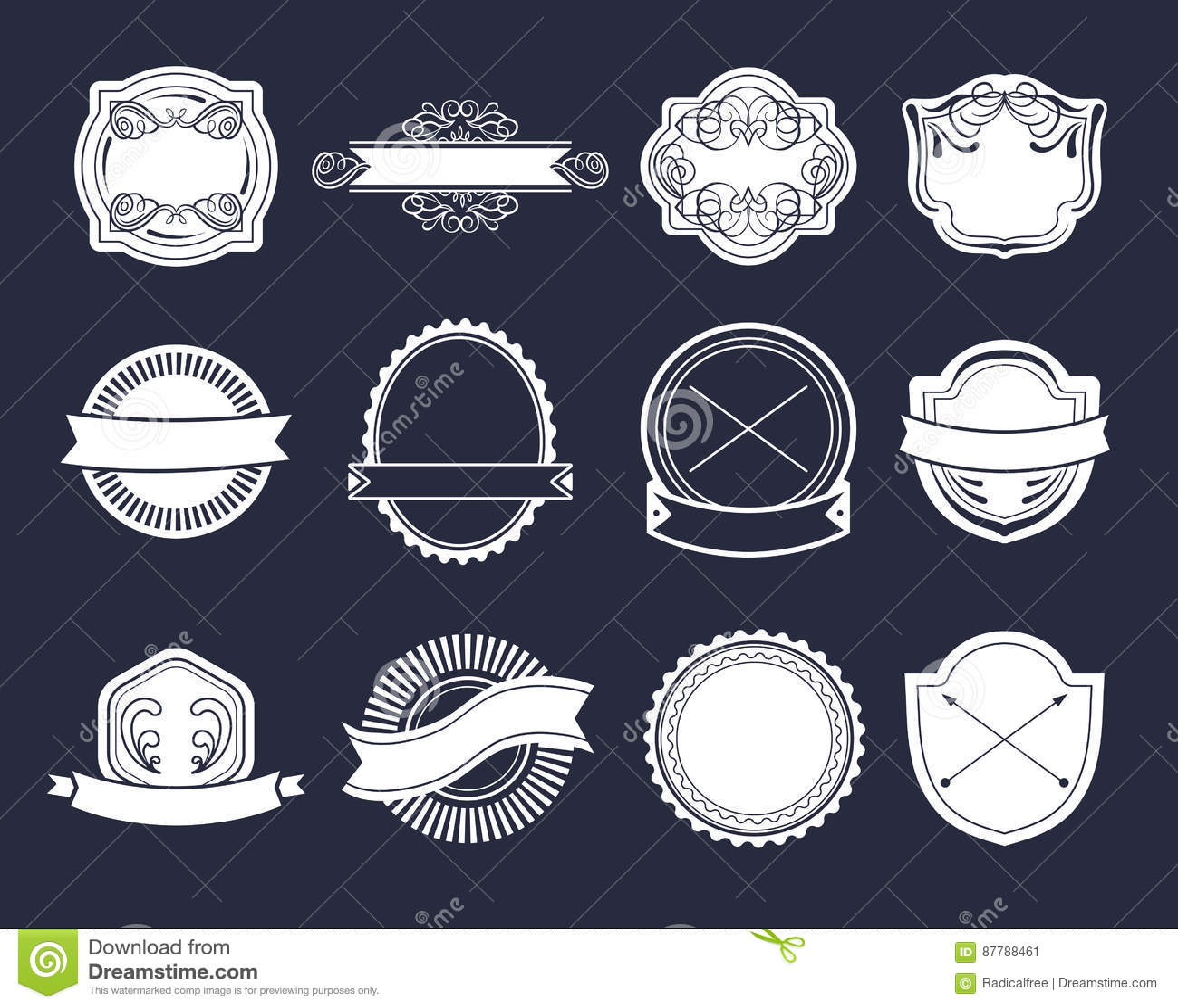 Sistema grande del vector de las etiquetas del vintage, elementos del logotipo del inconformista, cintas, plantilla del logotipo