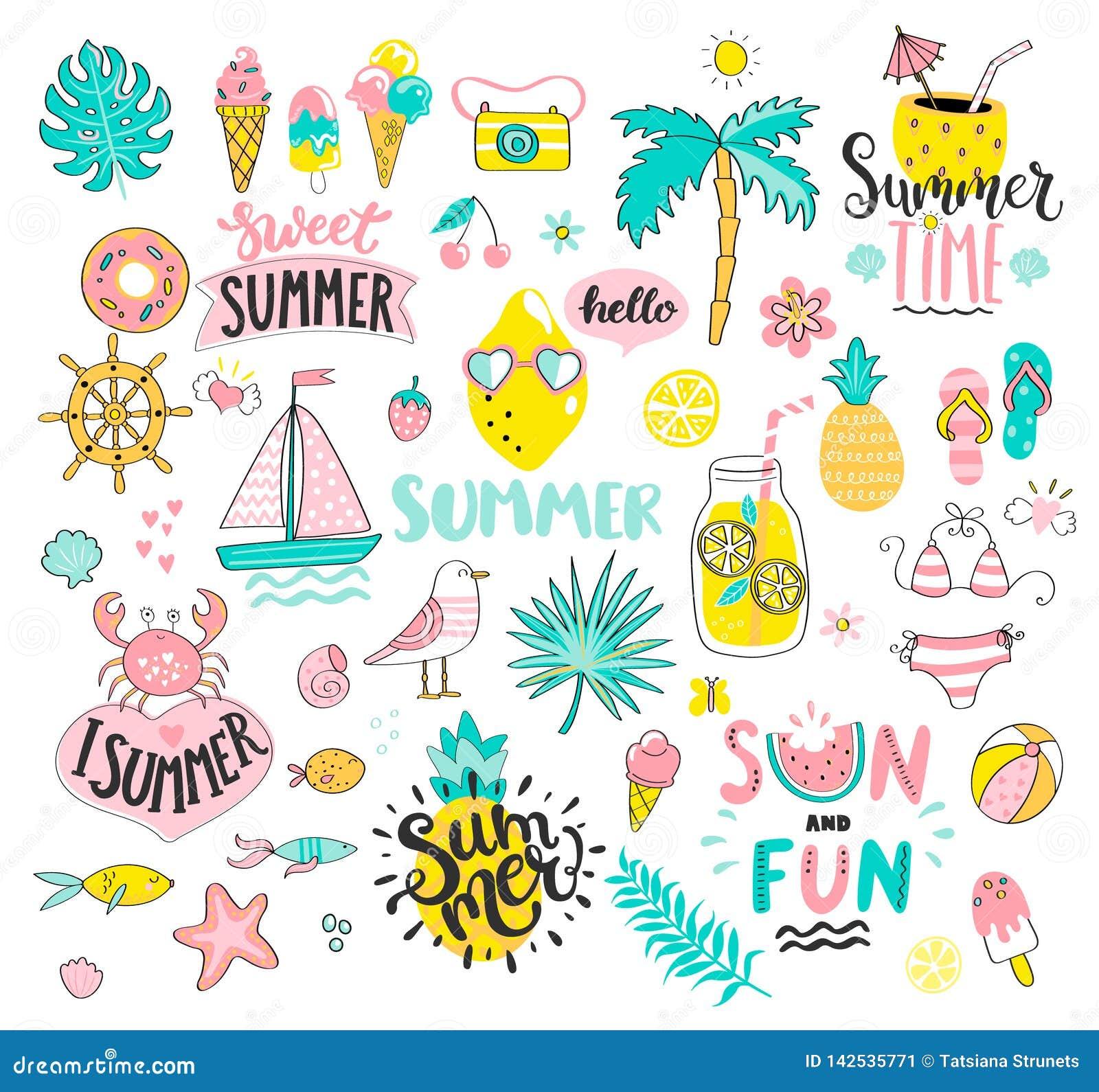 Sistema grande del verano de elementos exhaustos del sol y de la mano de la diversión