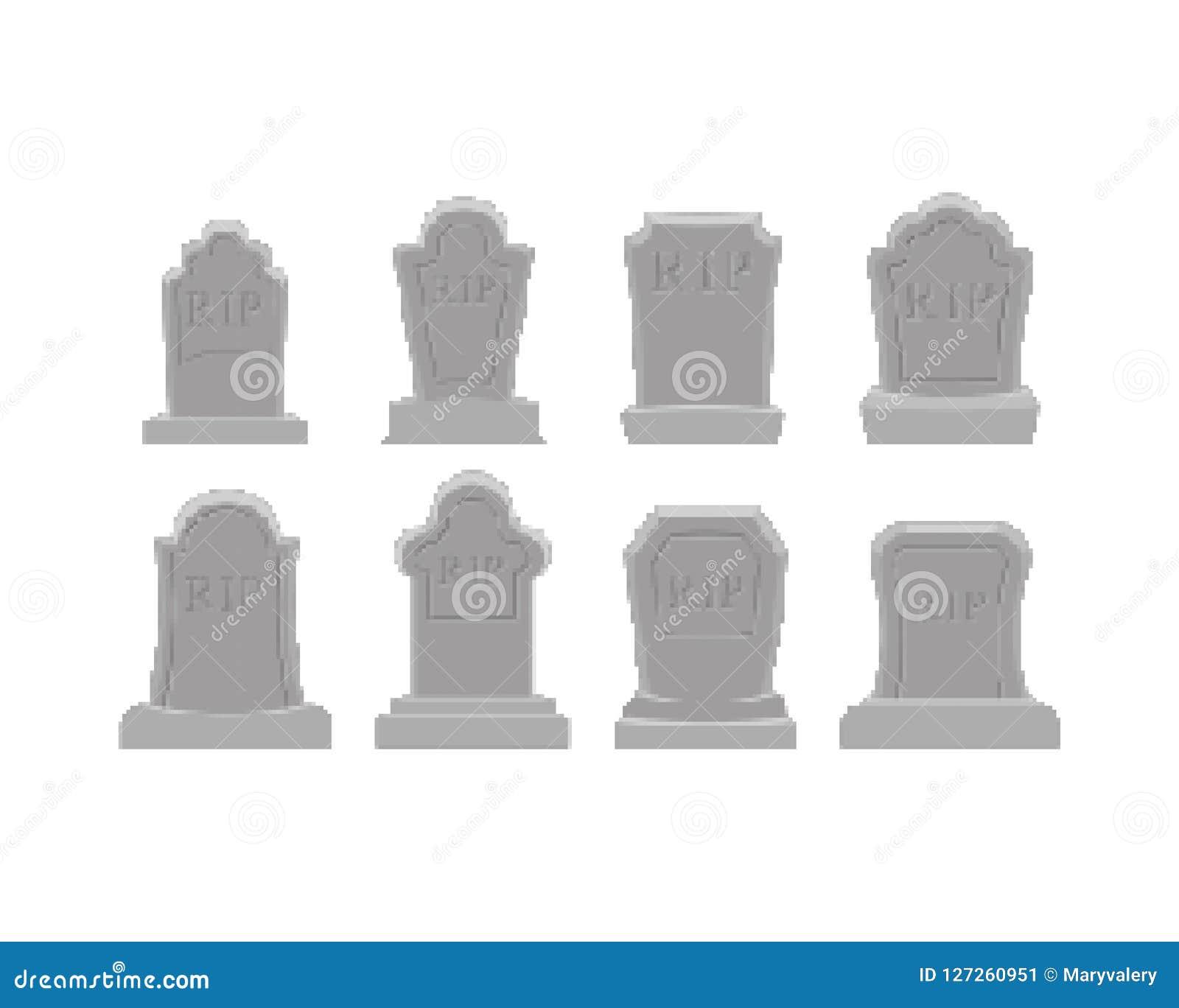 Sistema grave del arte del pixel Pedazo de la tumba 8 Lápida mortuaria Halloween RASGÓN Cemet