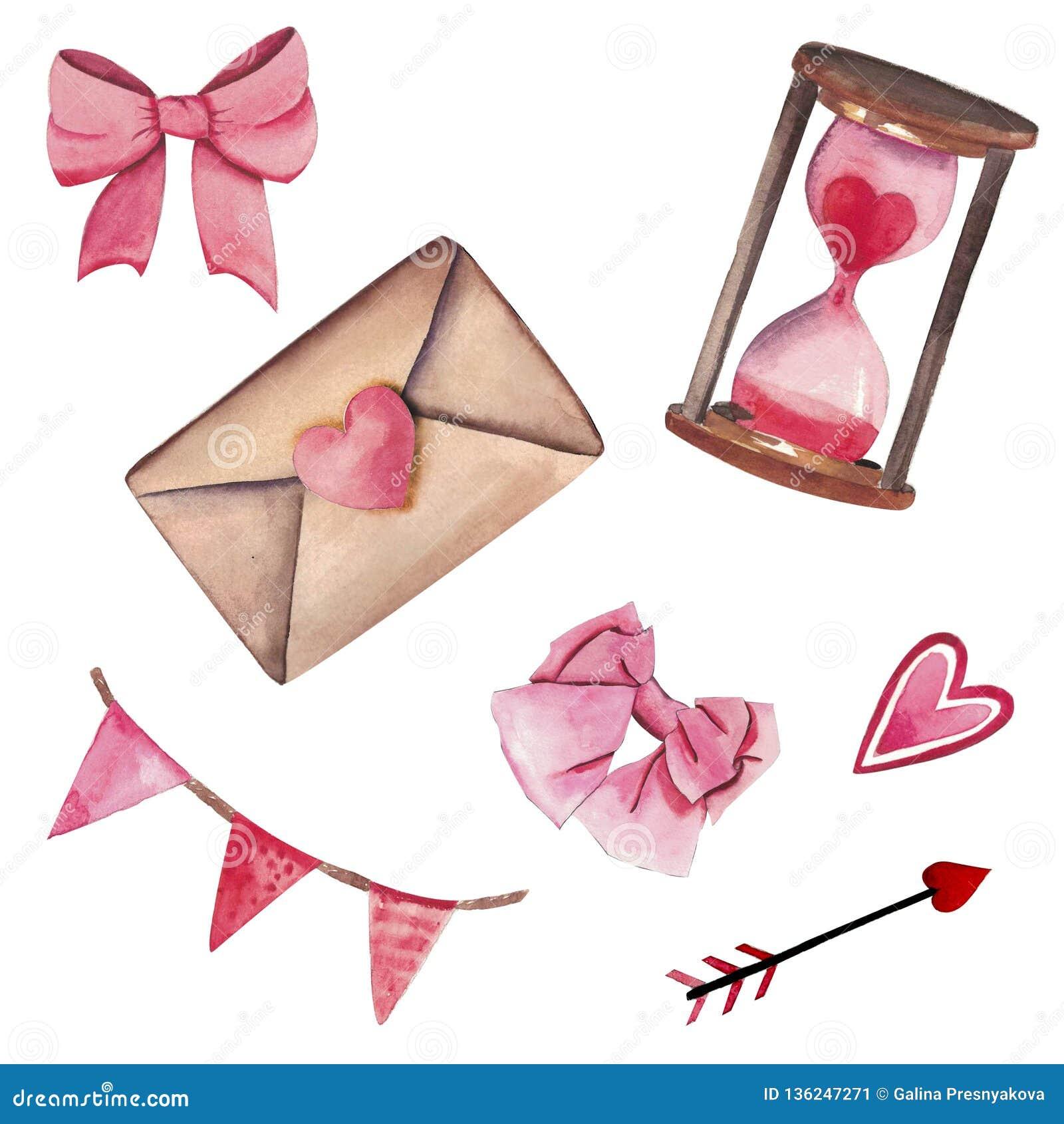 Sistema Handdrawn de la acuarela de elementos aislados en el fondo blanco Elementos rosados hermosos para el día de tarjeta del d