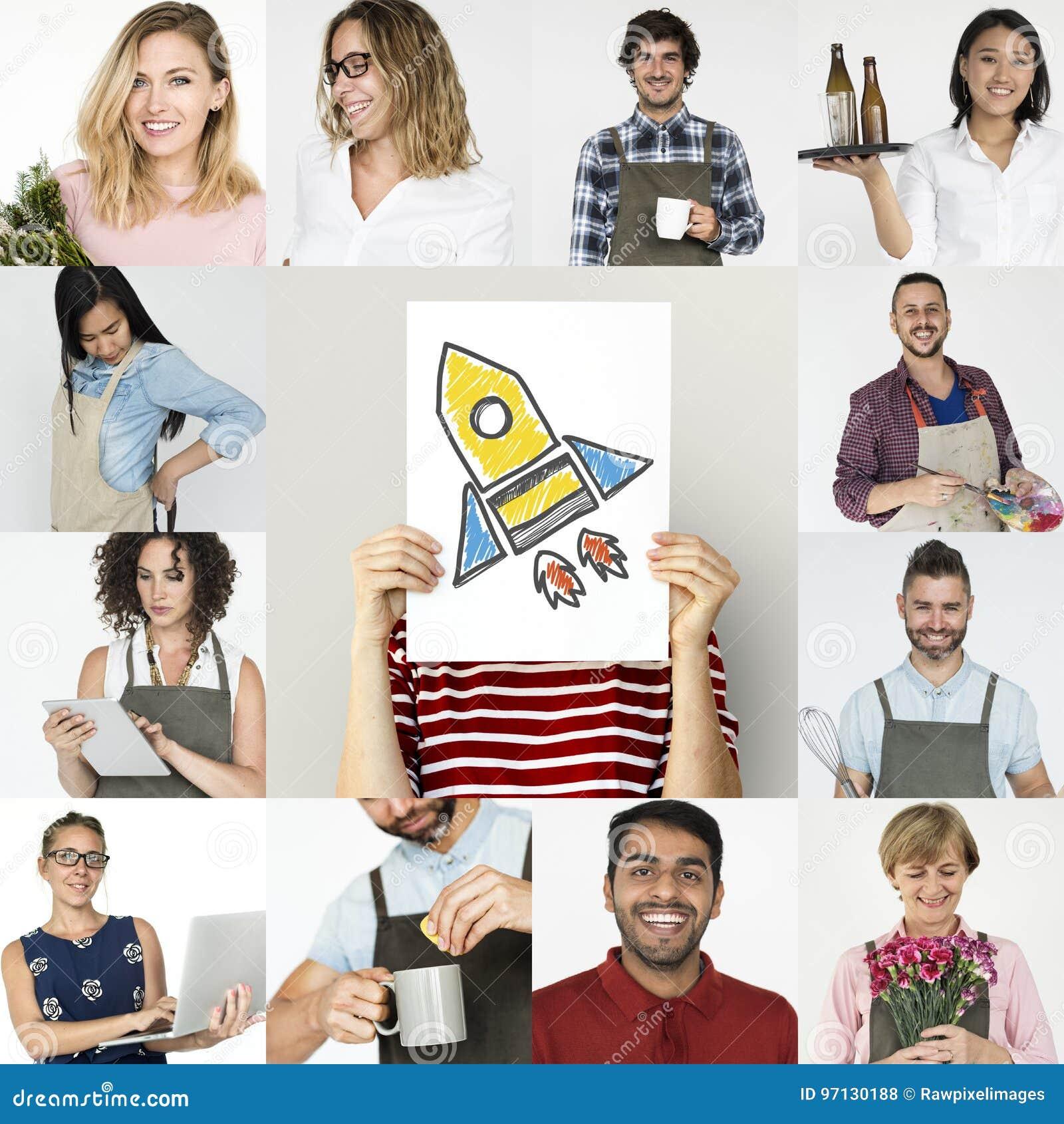 Sistema hombres de negocios de lanzamiento del collage del estudio de la diversidad de pequeños