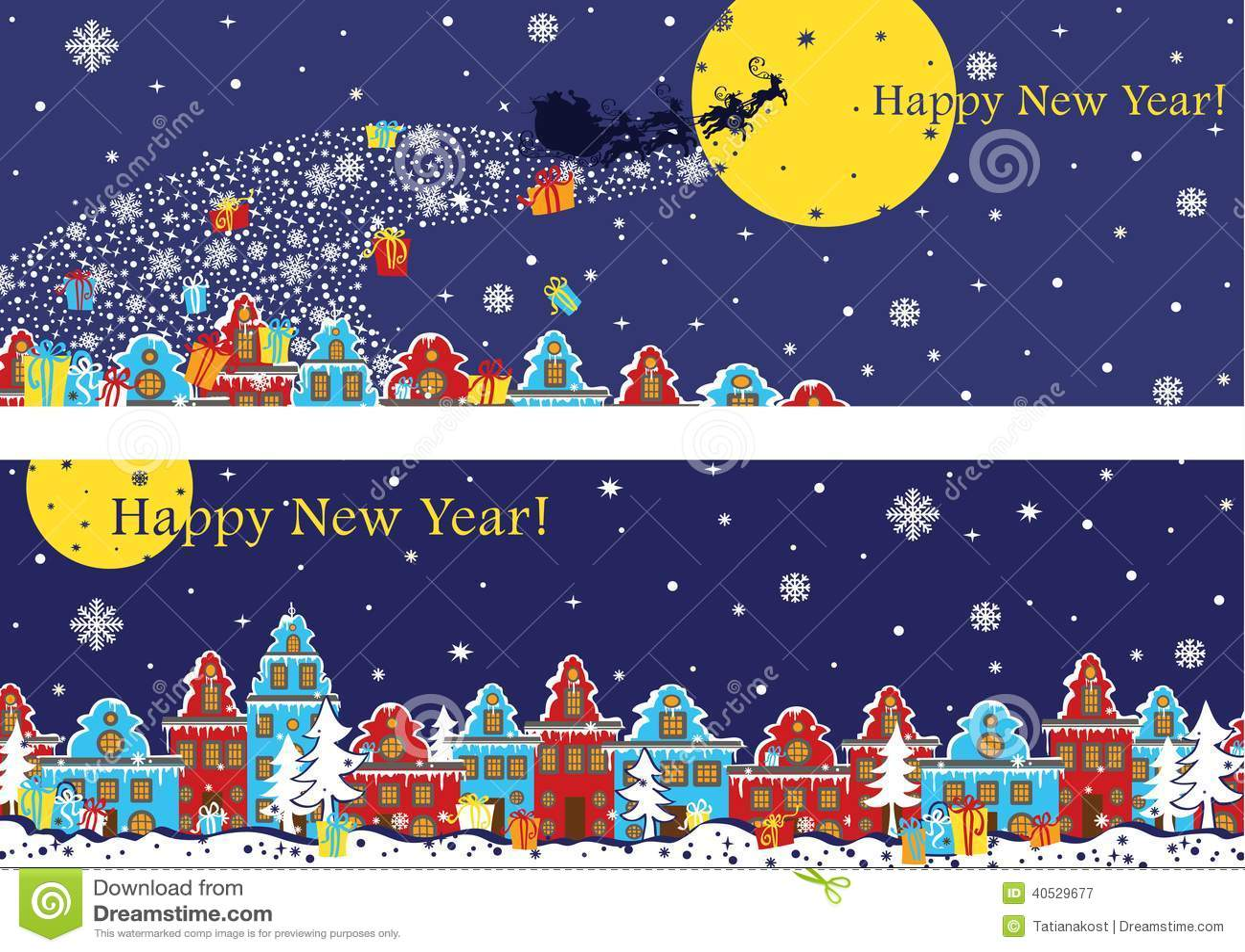 Sistema horizontal de la bandera del Año Nuevo Santa Claus que viene a la ciudad