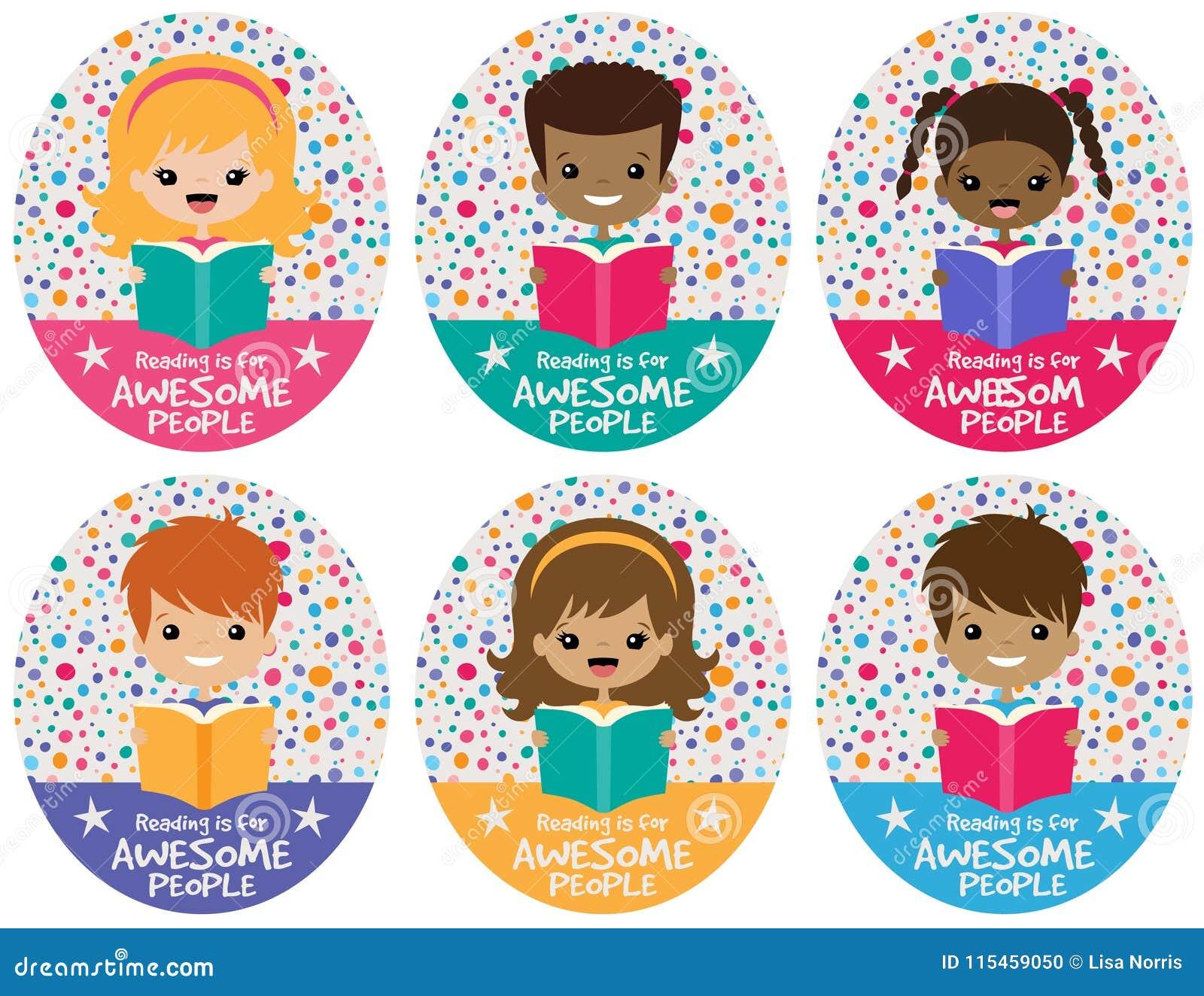 Sistema impresionante del gráfico de los niños de la lectura del vector