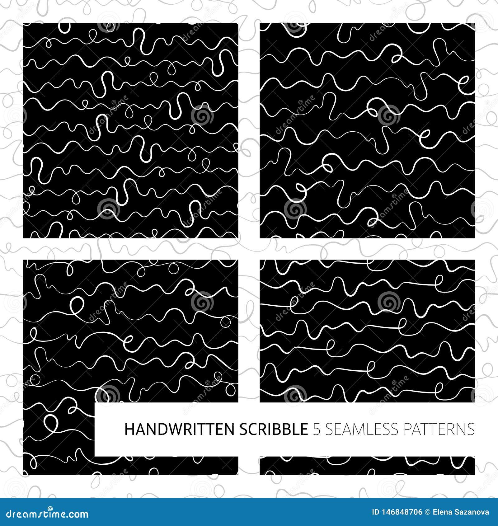 Sistema inconsútil de los modelos del garabato manuscrito ilegible