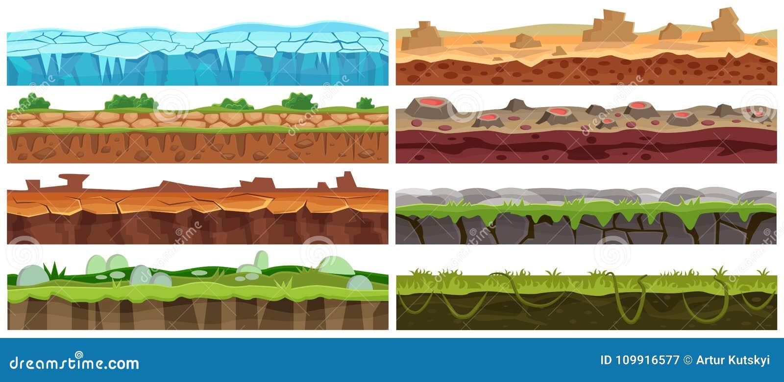 Sistema inconsútil del diseño del paisaje del vector de la historieta Colección de la planta para el interfaz del juego