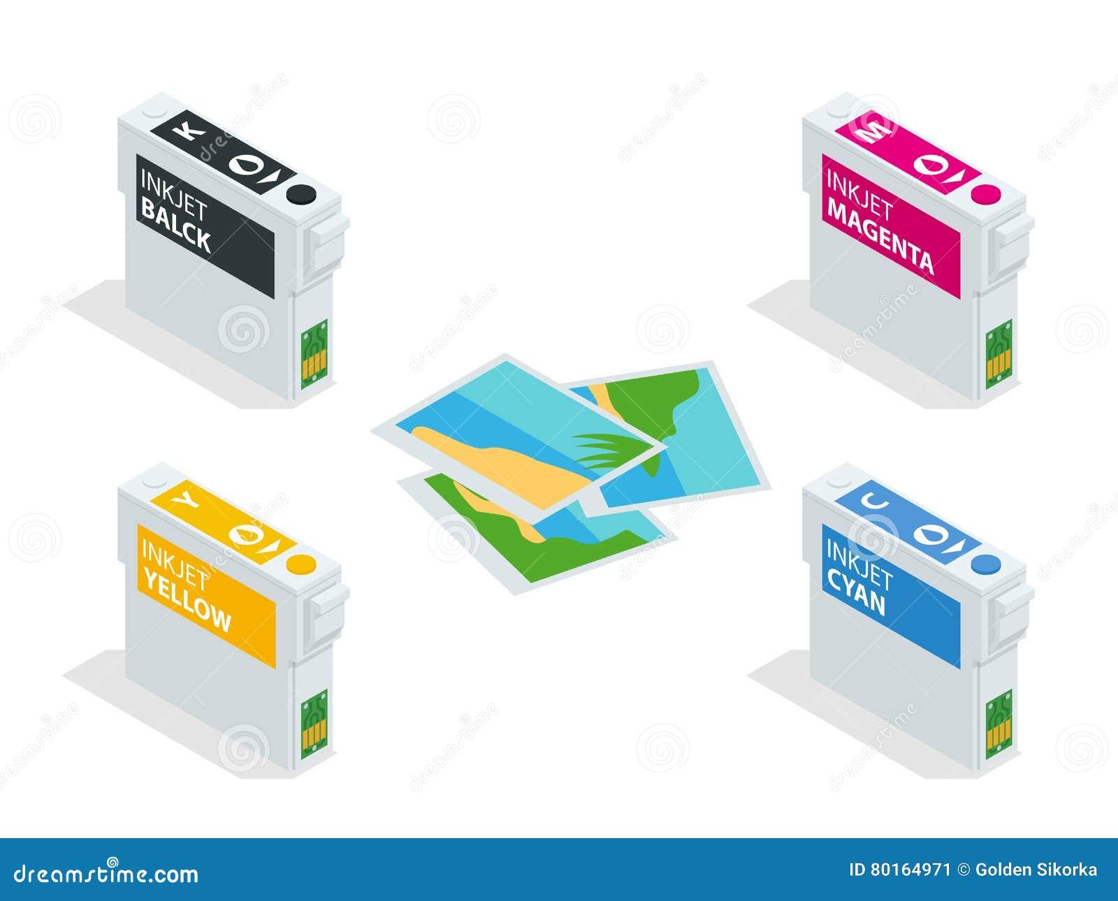 Sistema isométrico de CMYK de los cartuchos para la carta de la impresora y de color de chorro de tinta Cartuchos recargables vac
