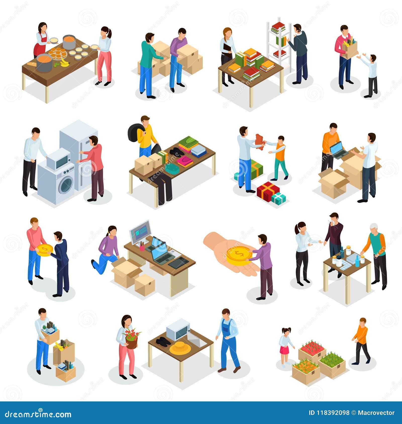 Sistema isométrico de la donación de las mercancías