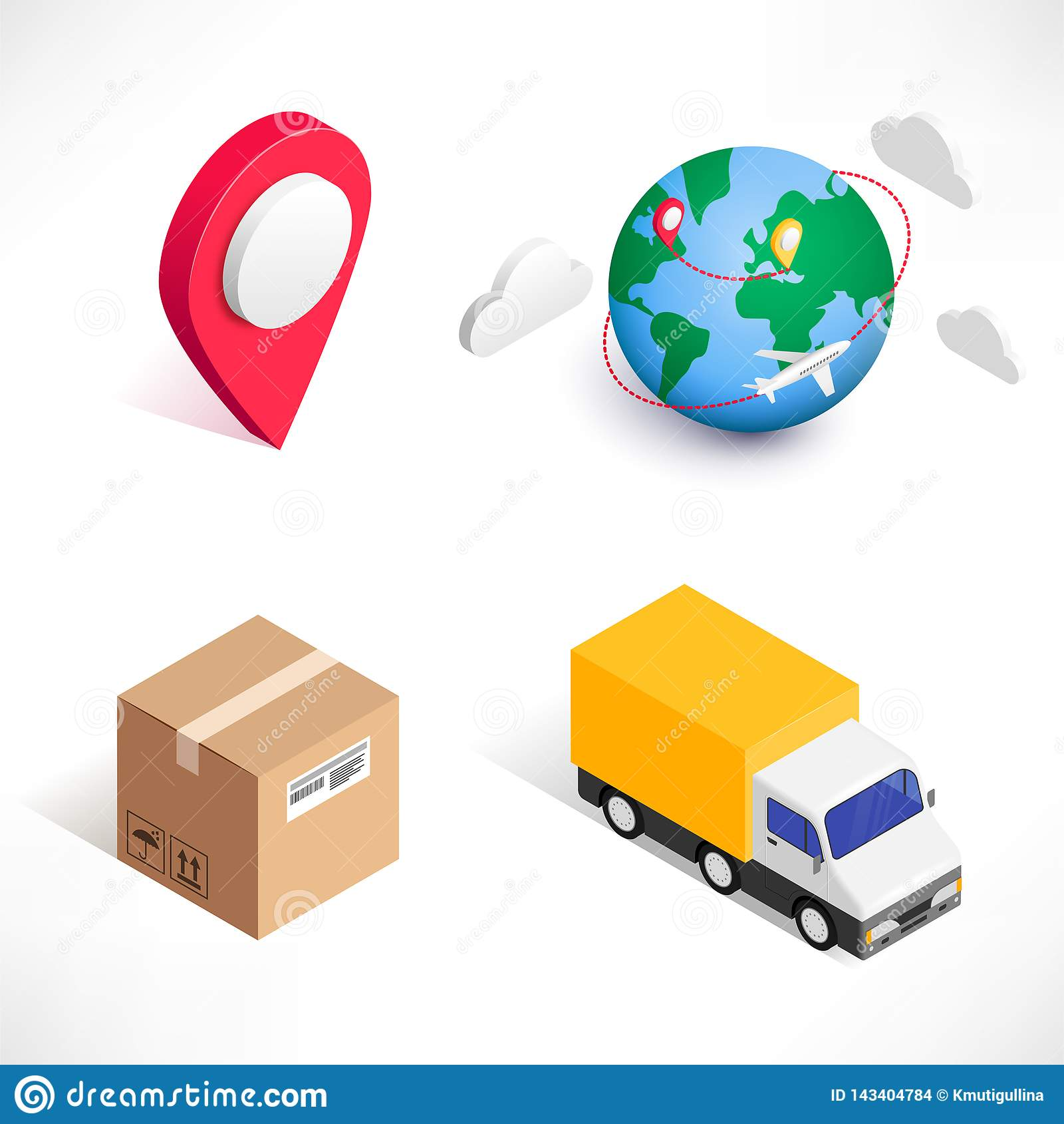 Sistema isométrico de los iconos de la entrega que hace compras