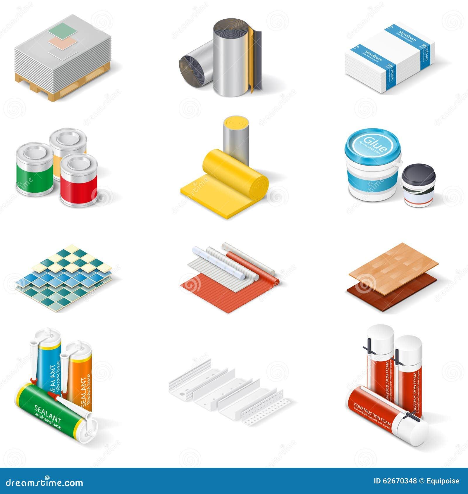 Sistema isométrico del icono de los materiales de la decoración y de aislamiento