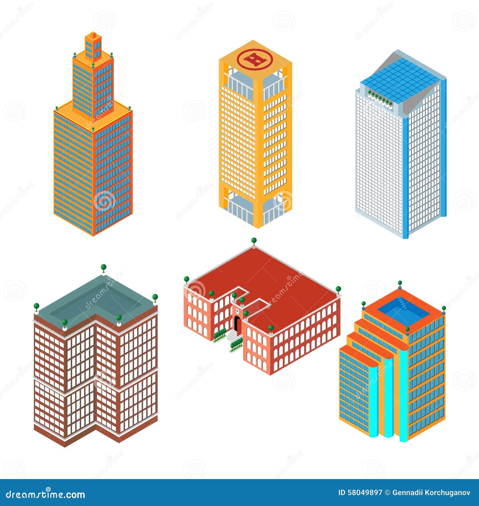 sistema isomtrico plano d de los rascacielos coloreados edificios escuela aislado en el fondo