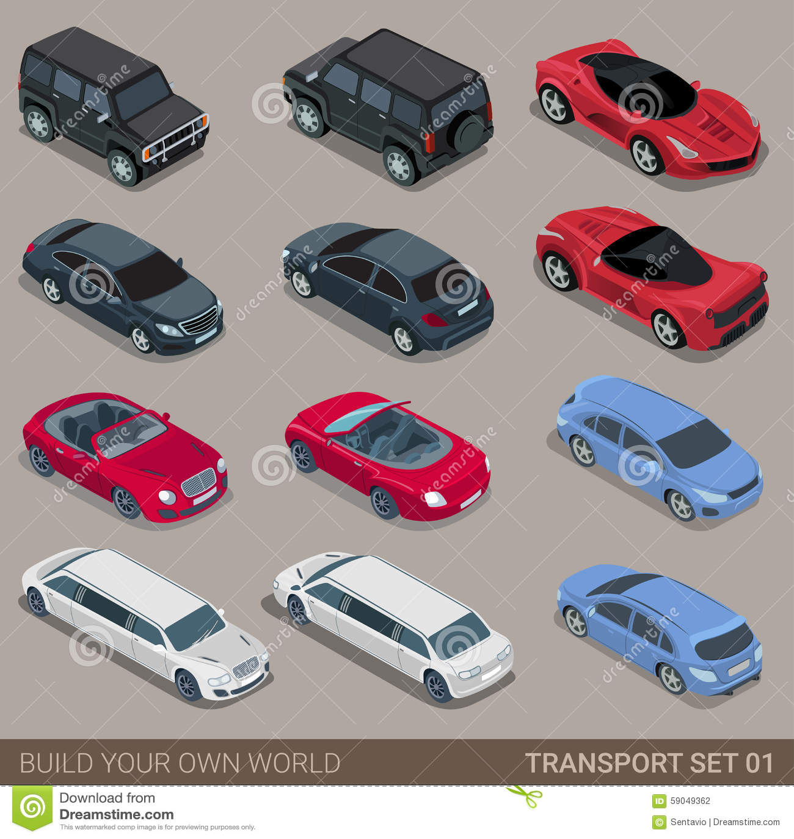 Sistema isométrico plano del icono del transporte por carretera de la ciudad 3d