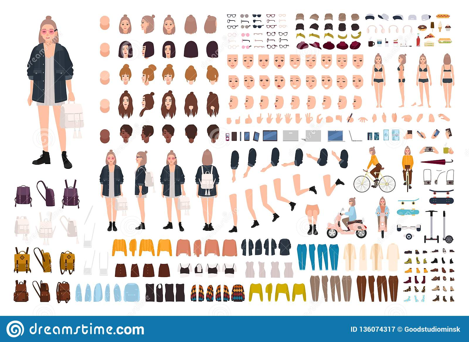 880160115 Sistema Joven De La Creación De La Mujer De Moda O Equipo De DIY ...