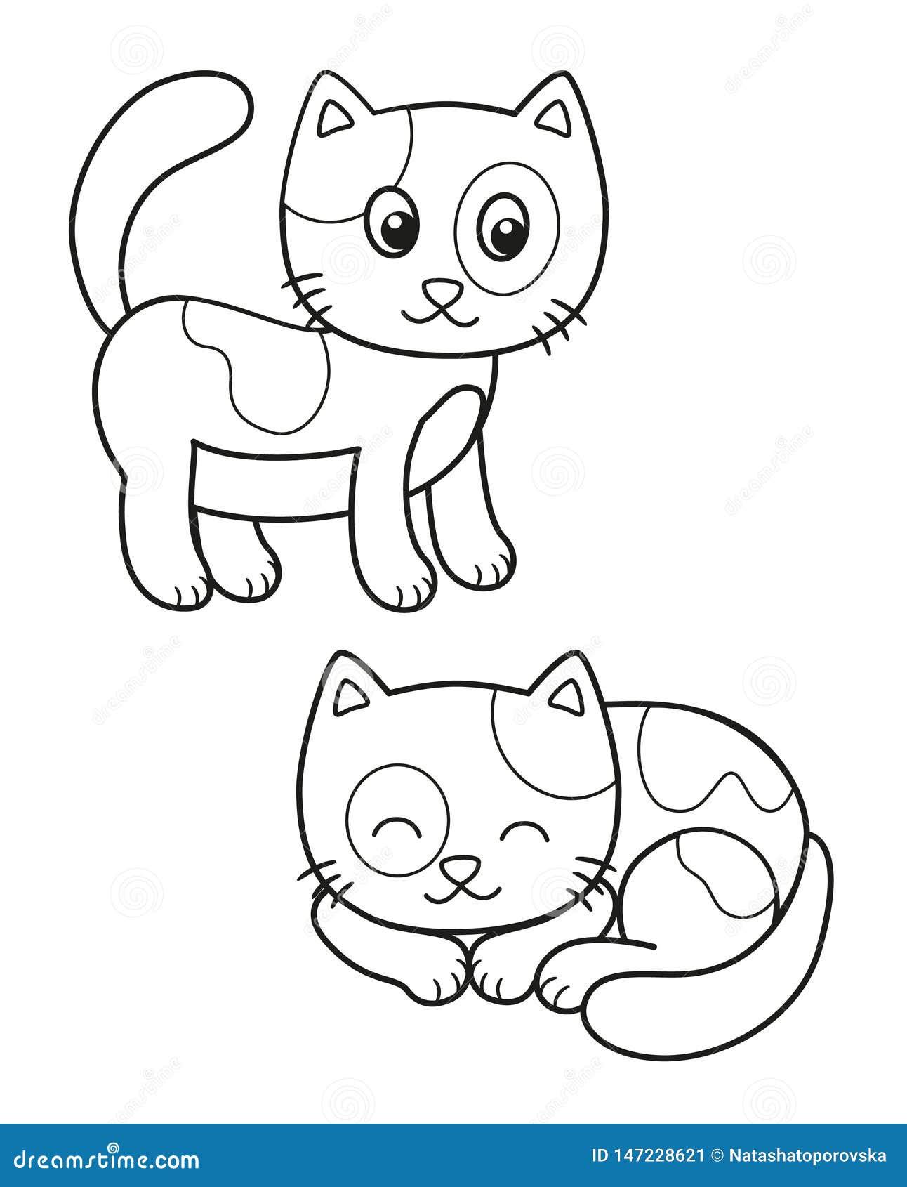 Sistema lindo del gato de la historieta, ejemplos blancos y negros del vector para el colorante de los niños o creatividad