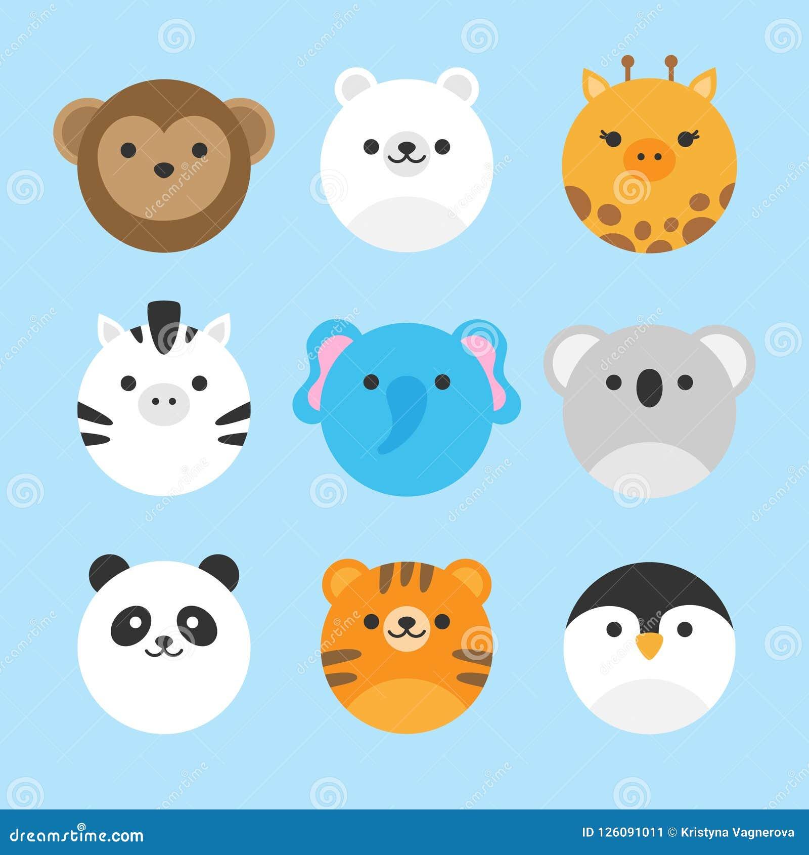 Sistema lindo del vector de animales del parque zoológico