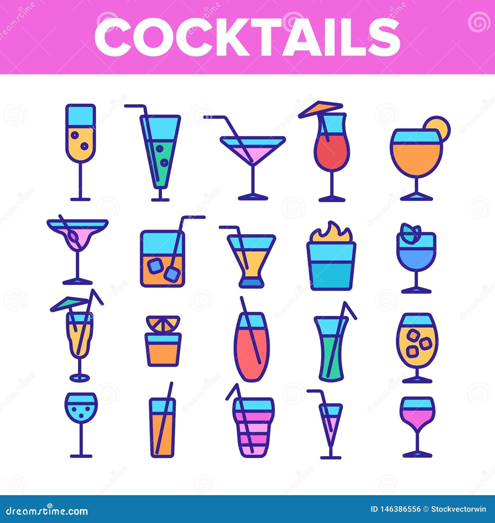 Sistema linear de los iconos de los c?cteles, del alcohol y de los refrescos