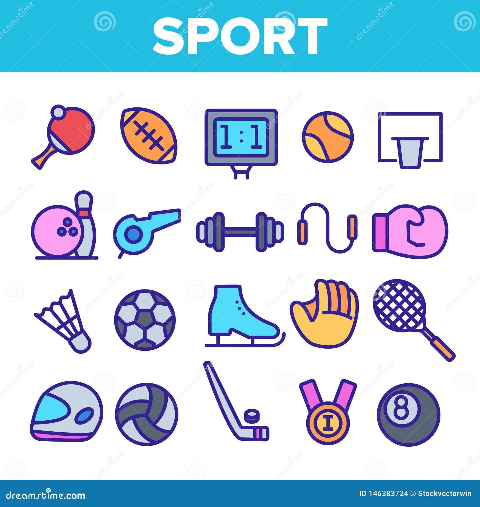 Sistema linear de los iconos del vector del equipo de juegos de los deportes