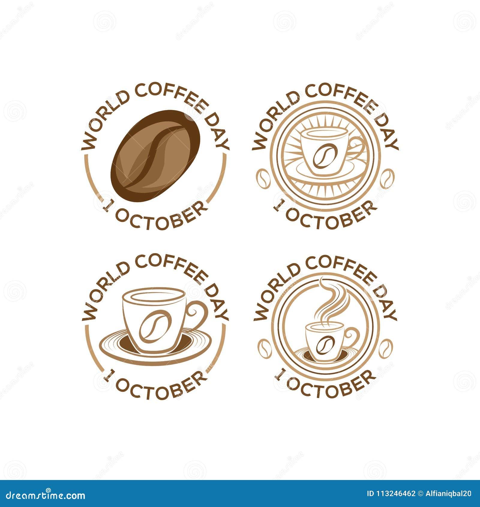 Sistema logotipo del día internacional del café del 1 de octubre Ejemplo del vector de Logo Icon del día del café del mundo en el