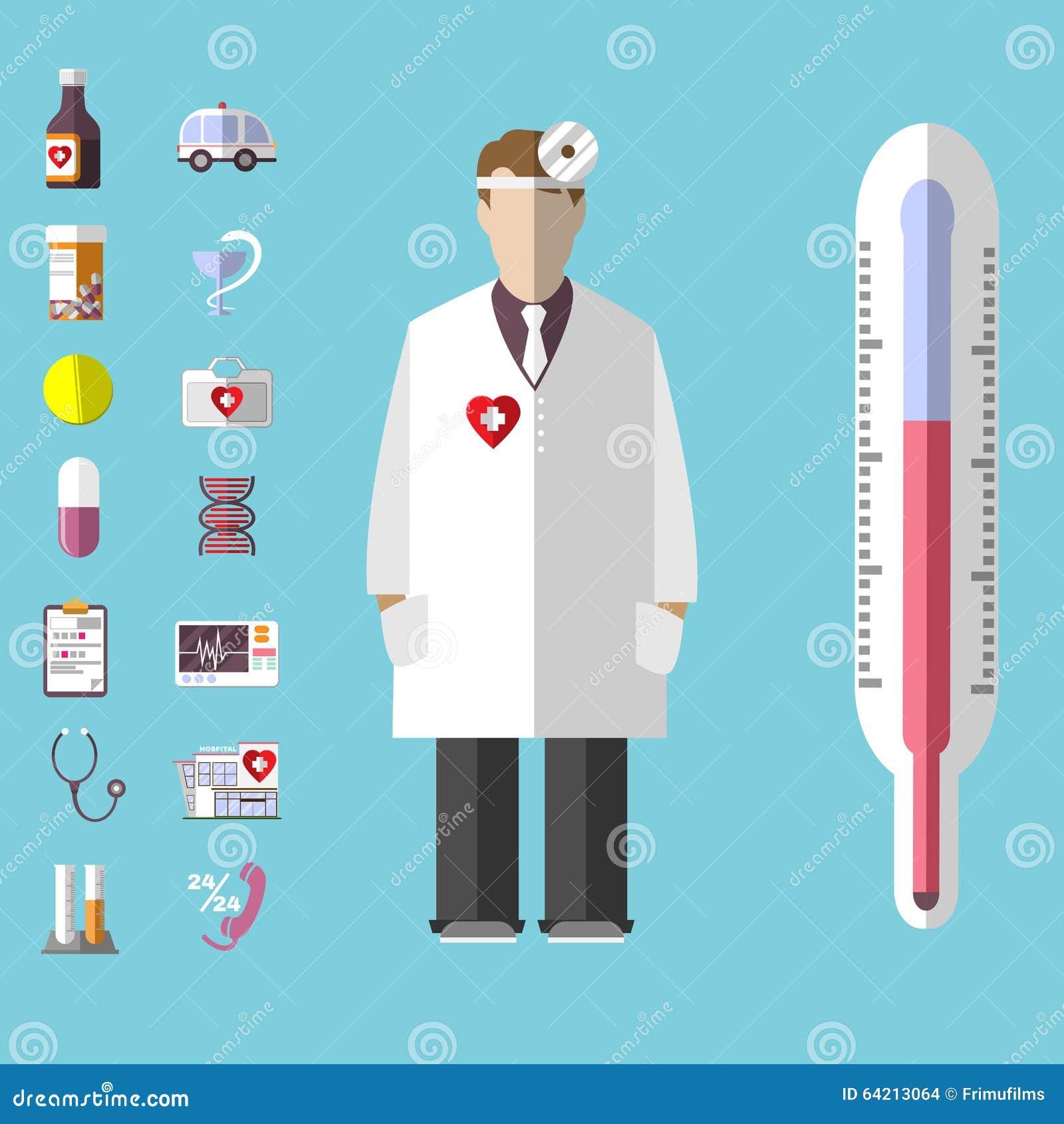 Sistema médico del icono del vector