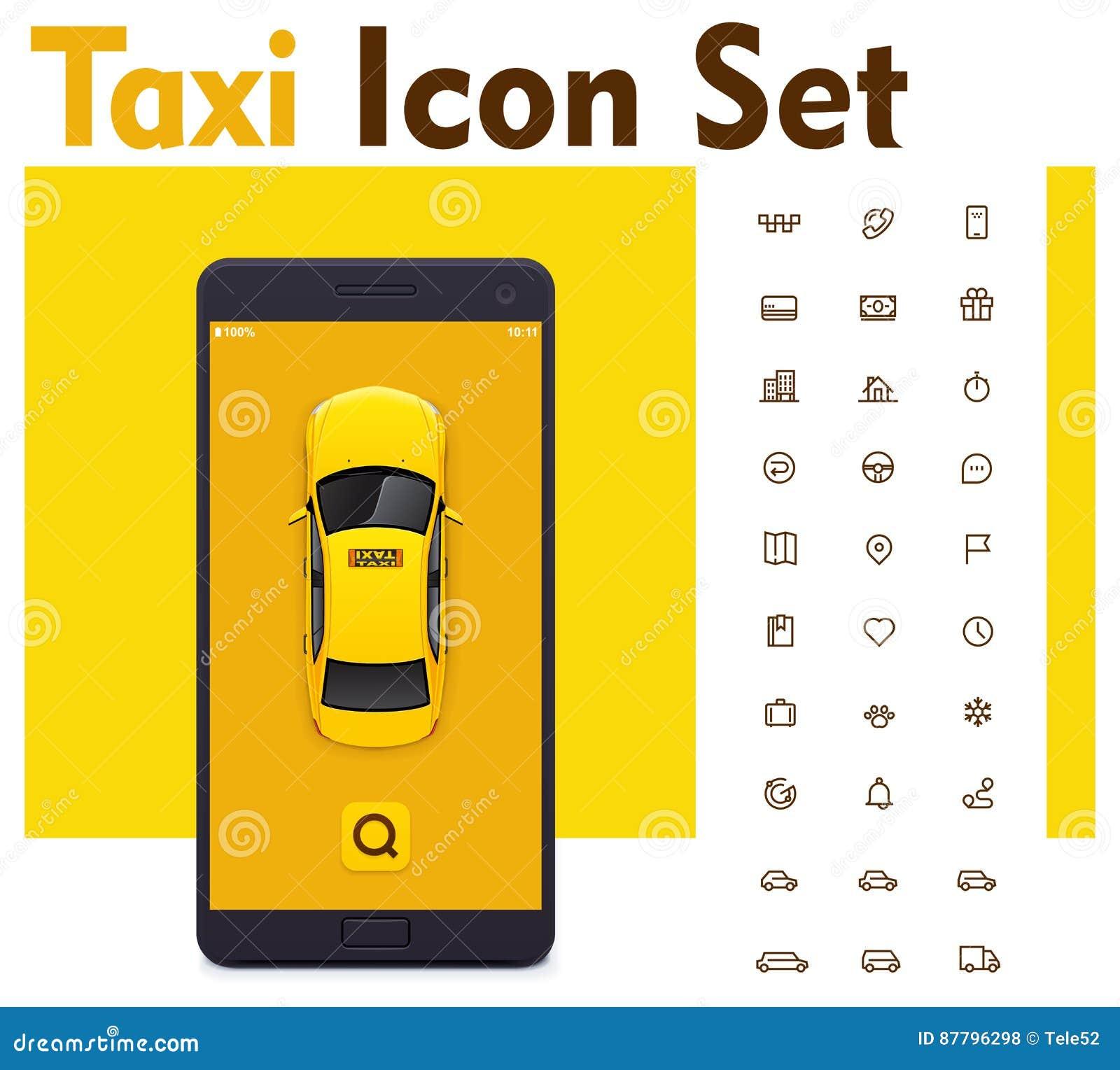 Sistema móvil del icono del app del taxi del vector