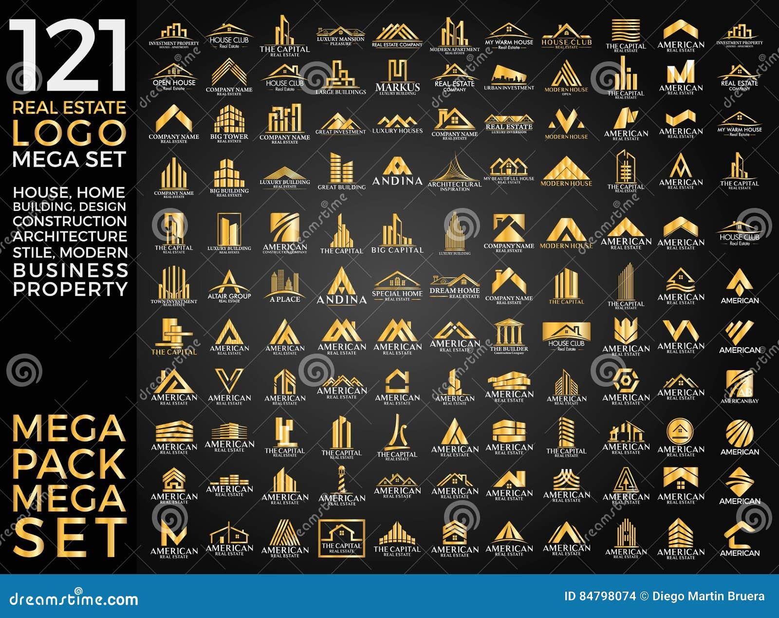 Sistema mega y grupo, Real Estate, edificio y construcción grandes Logo Vector Design
