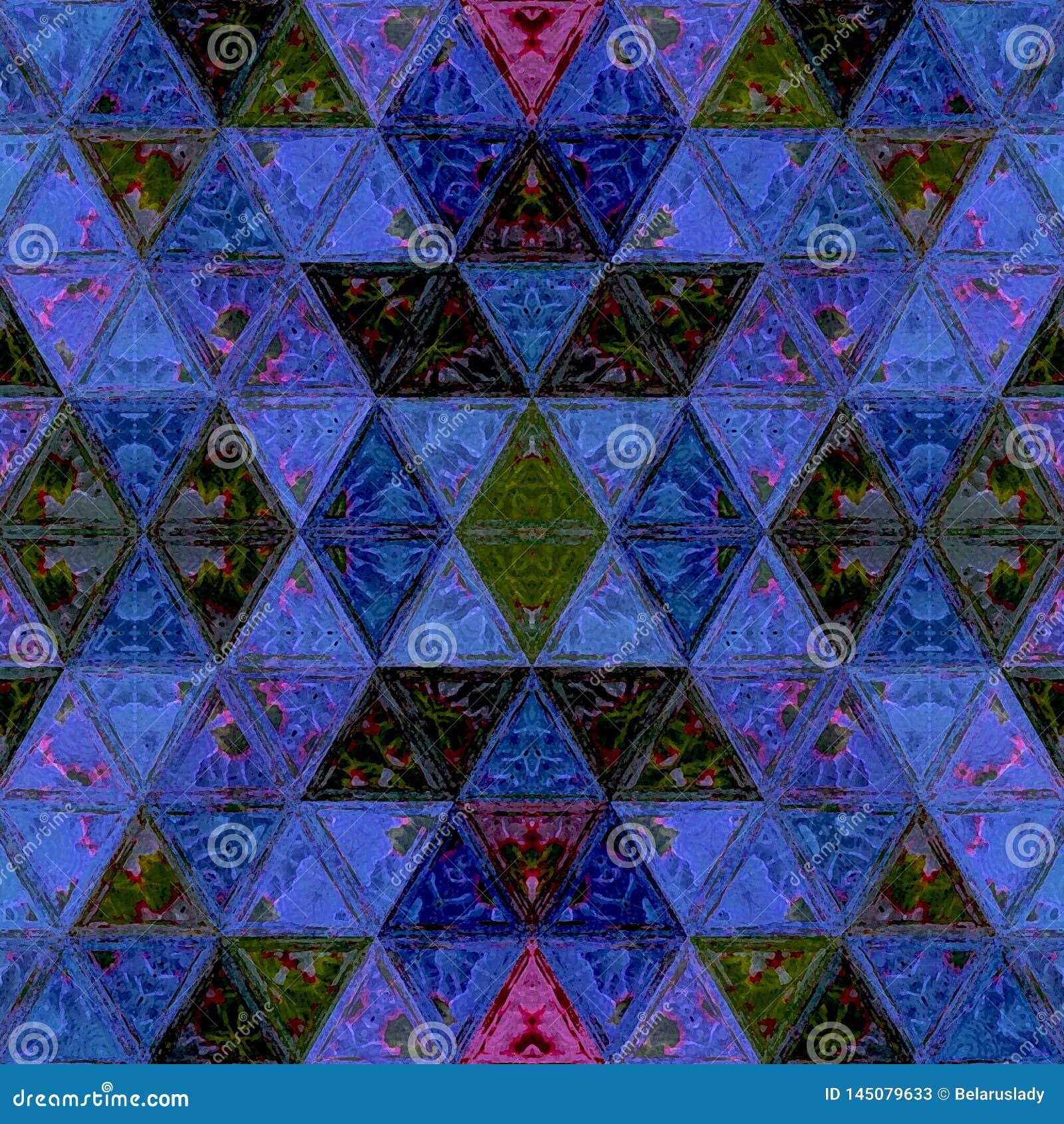 Sistema moderno de la acuarela del mosaico de los triángulos para el diseño decorativo en el azul de neón
