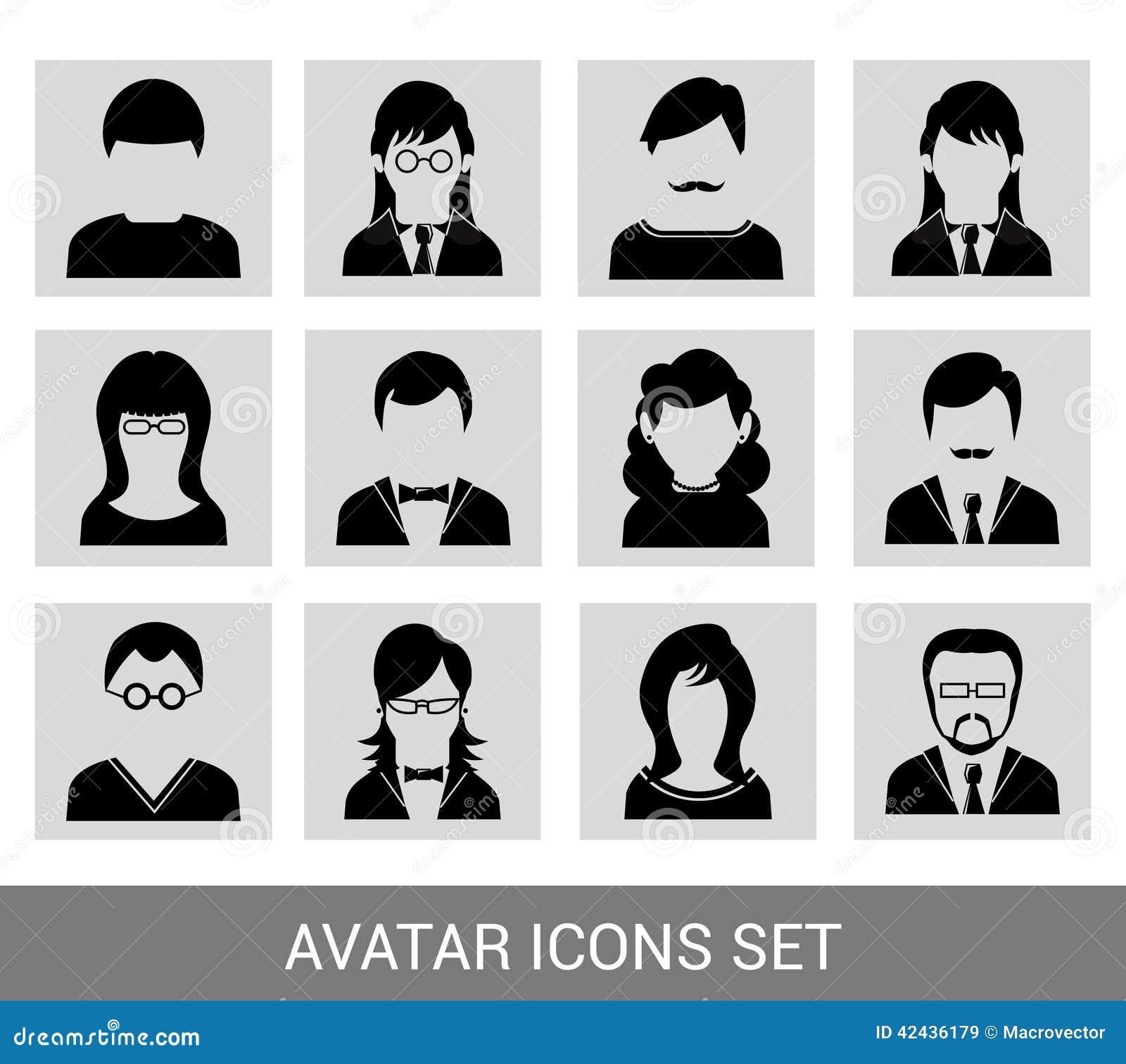 Sistema negro del icono del avatar