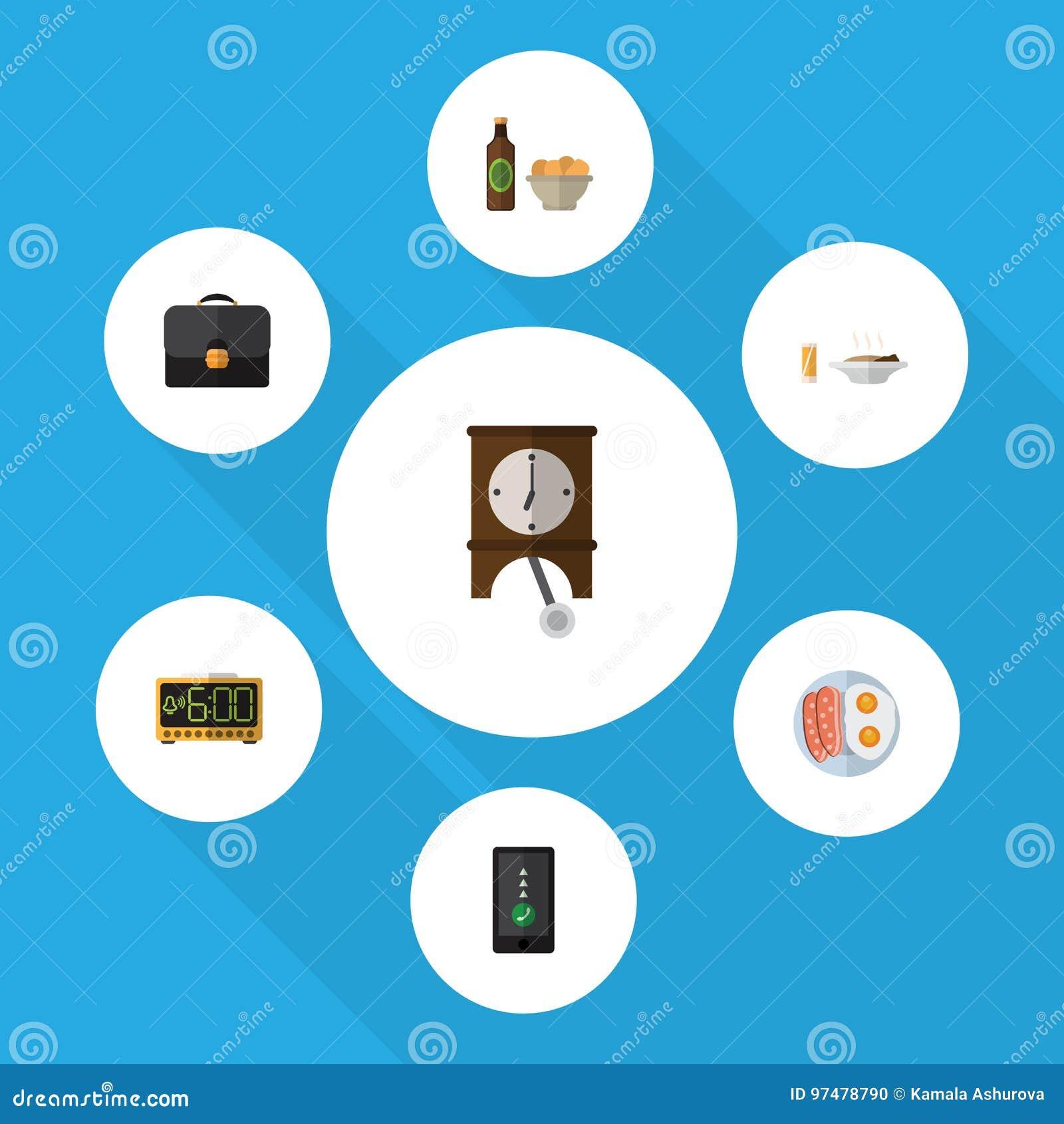 Sistema plano de la vida del icono de cerveza con los microprocesadores, el almuerzo, el reloj y otros objetos del vector También