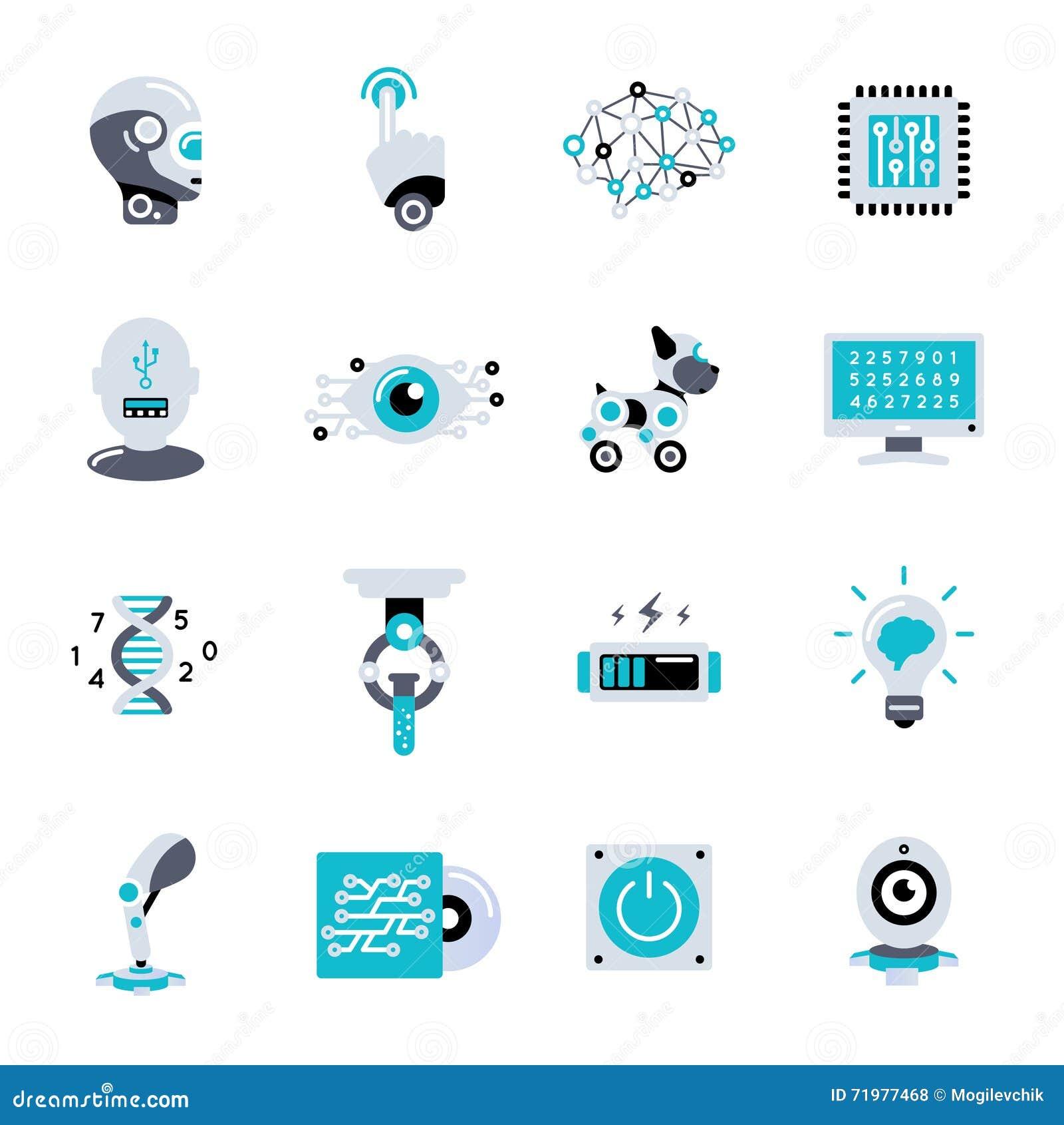 Sistema plano del icono de la inteligencia artificial