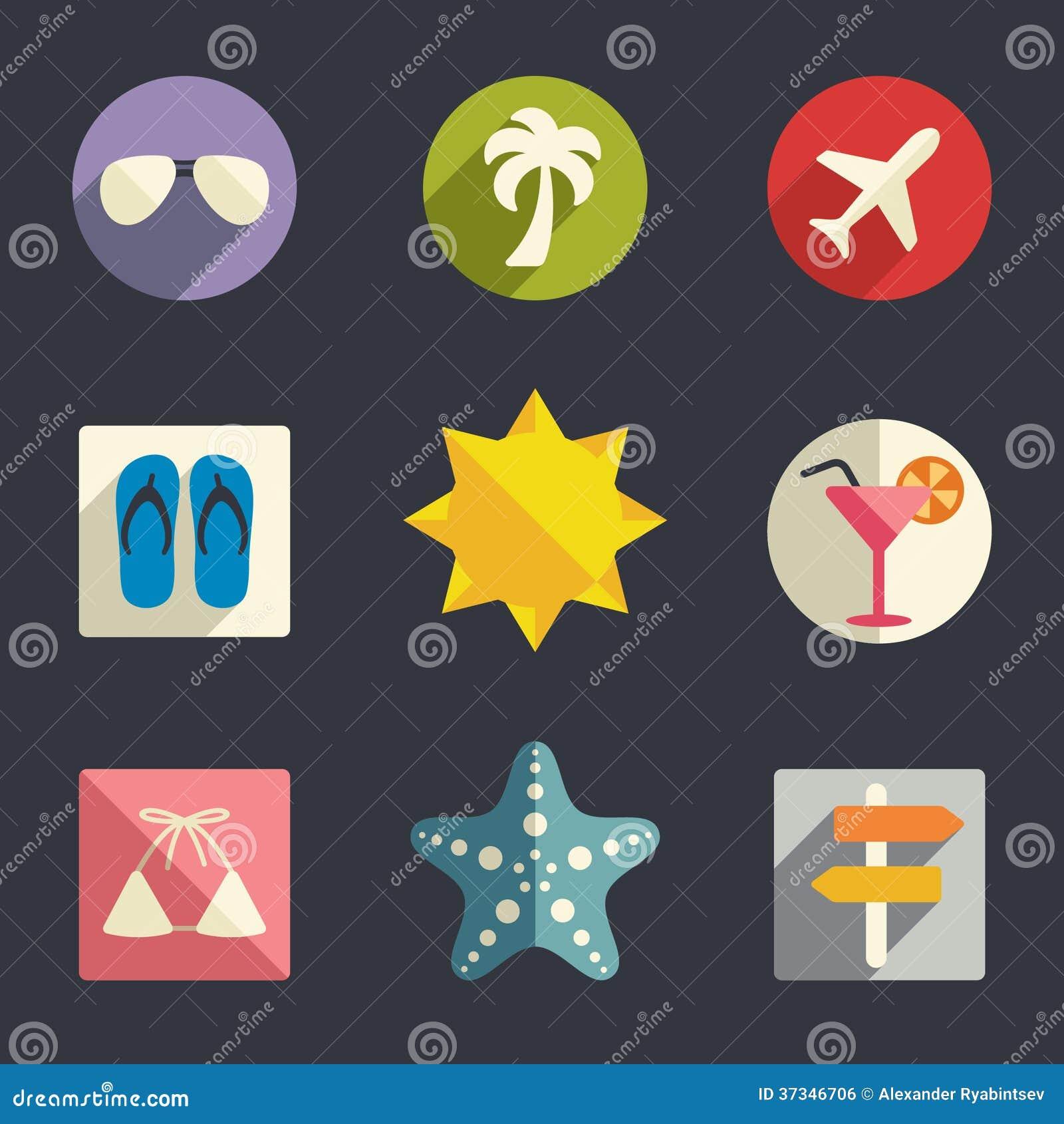 Sistema plano del icono de las vacaciones