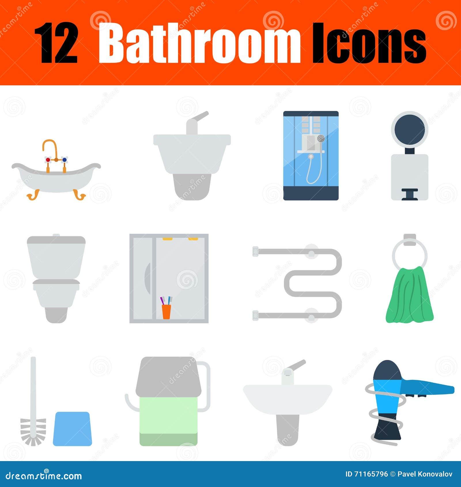 sistema plano del icono del cuarto de baño del diseño ilustración