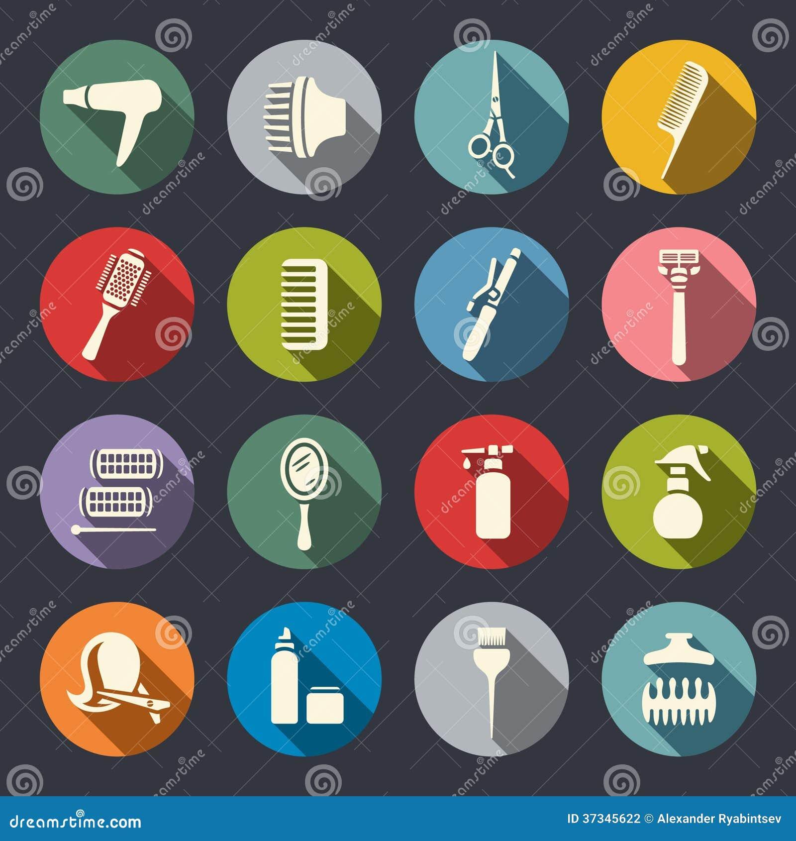 Sistema plano del icono del equipo de la peluquería