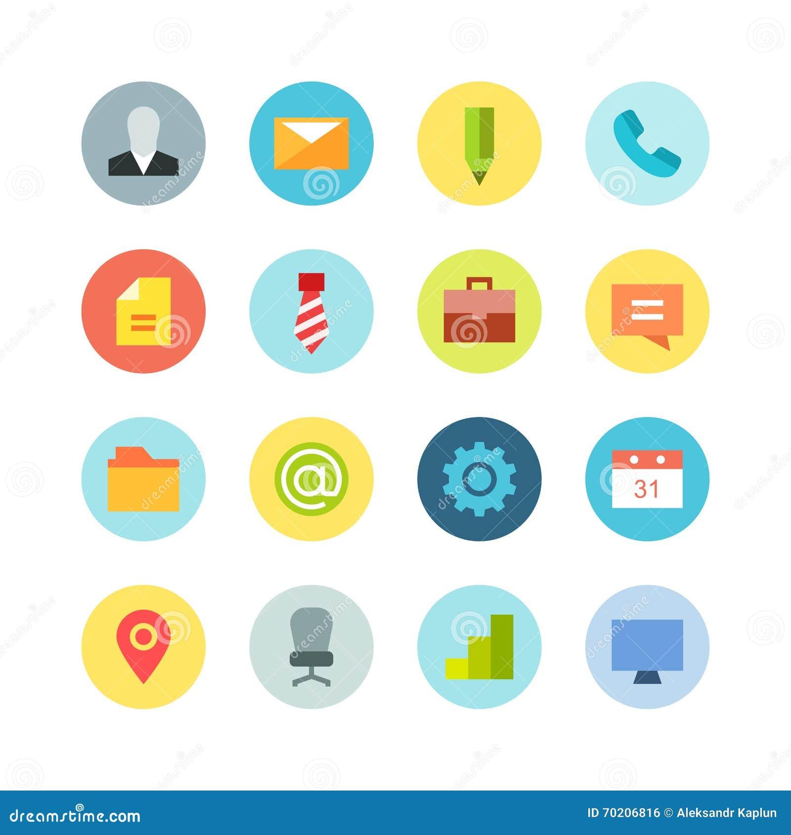Sistema plano del icono del negocio en el fondo coloreado