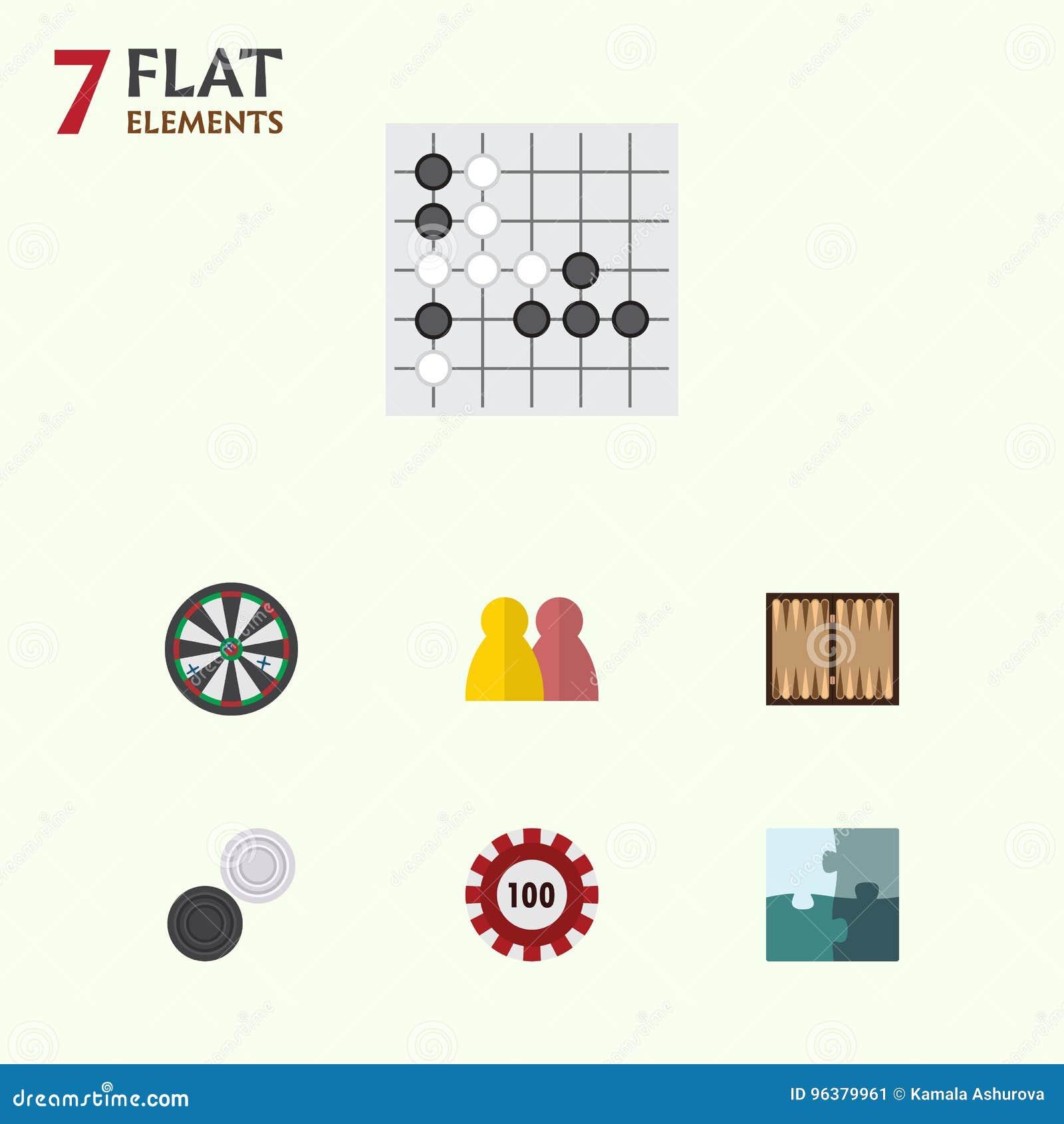 Sistema plano del juego del icono de flecha, de póker, de gente y de otros objetos del vector También incluye la flecha, tabla, e