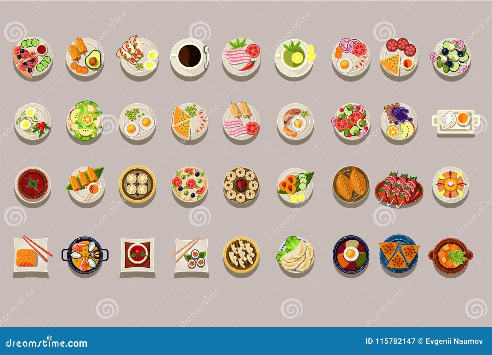 Sistema plano del vector de diversos platos Iconos detallados de la comida Café y té verde Tema culinario Comida deliciosa elemen