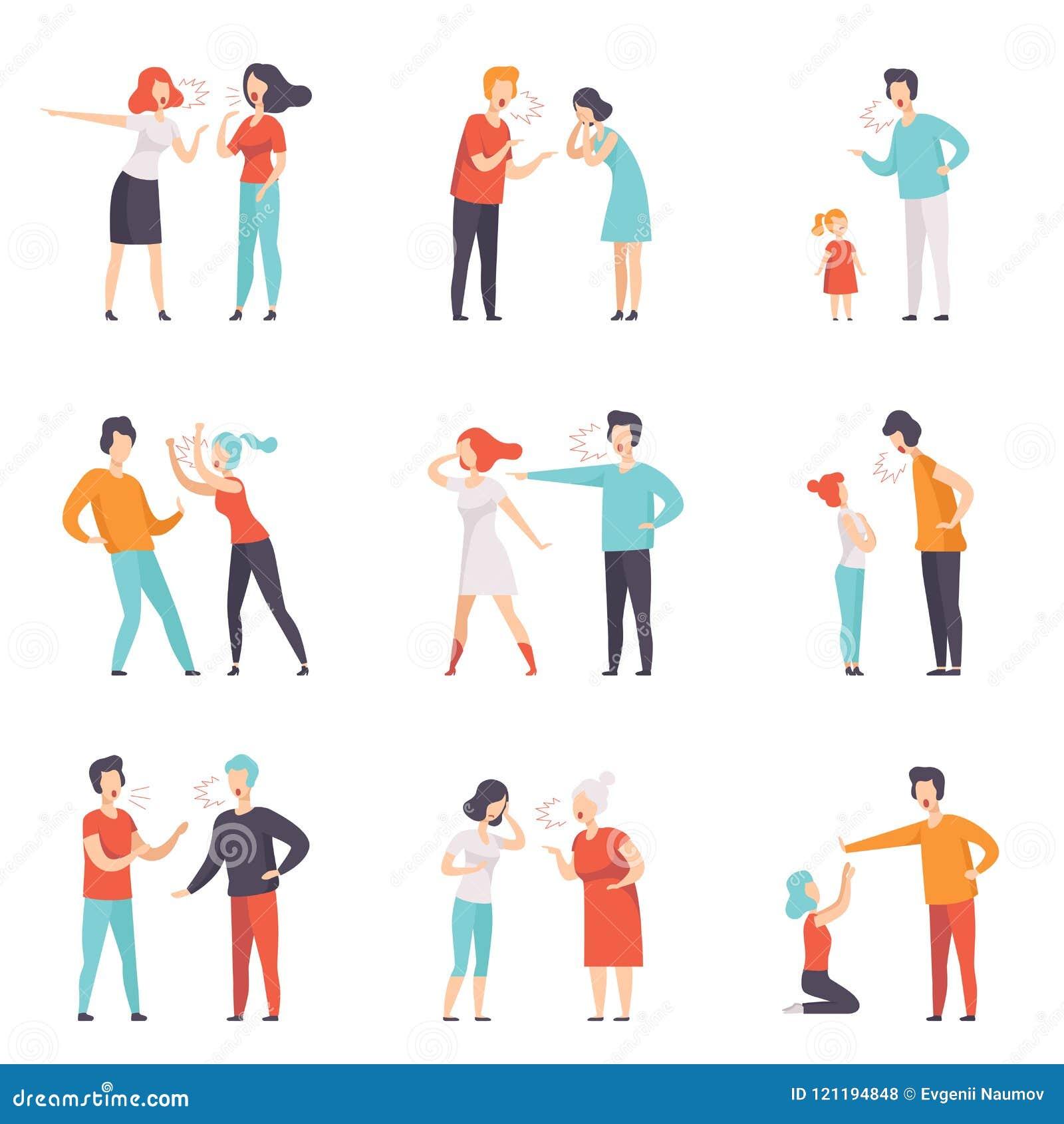 Sistema plano del vector de gente de pelea Escándalo público ruidoso Hombres y mujeres que gritan en uno a Emociones negativas y
