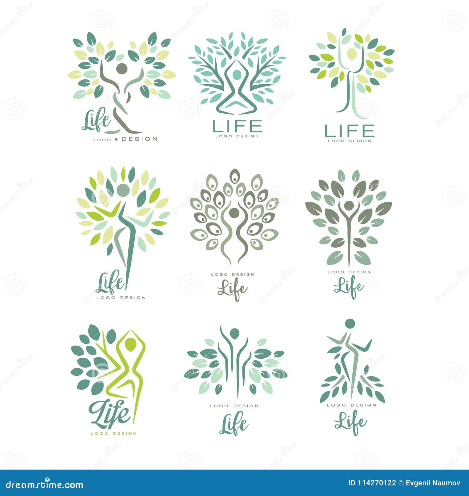 Sistema Plano Del Vector De Plantillas Del Logotipo De La Vida Con