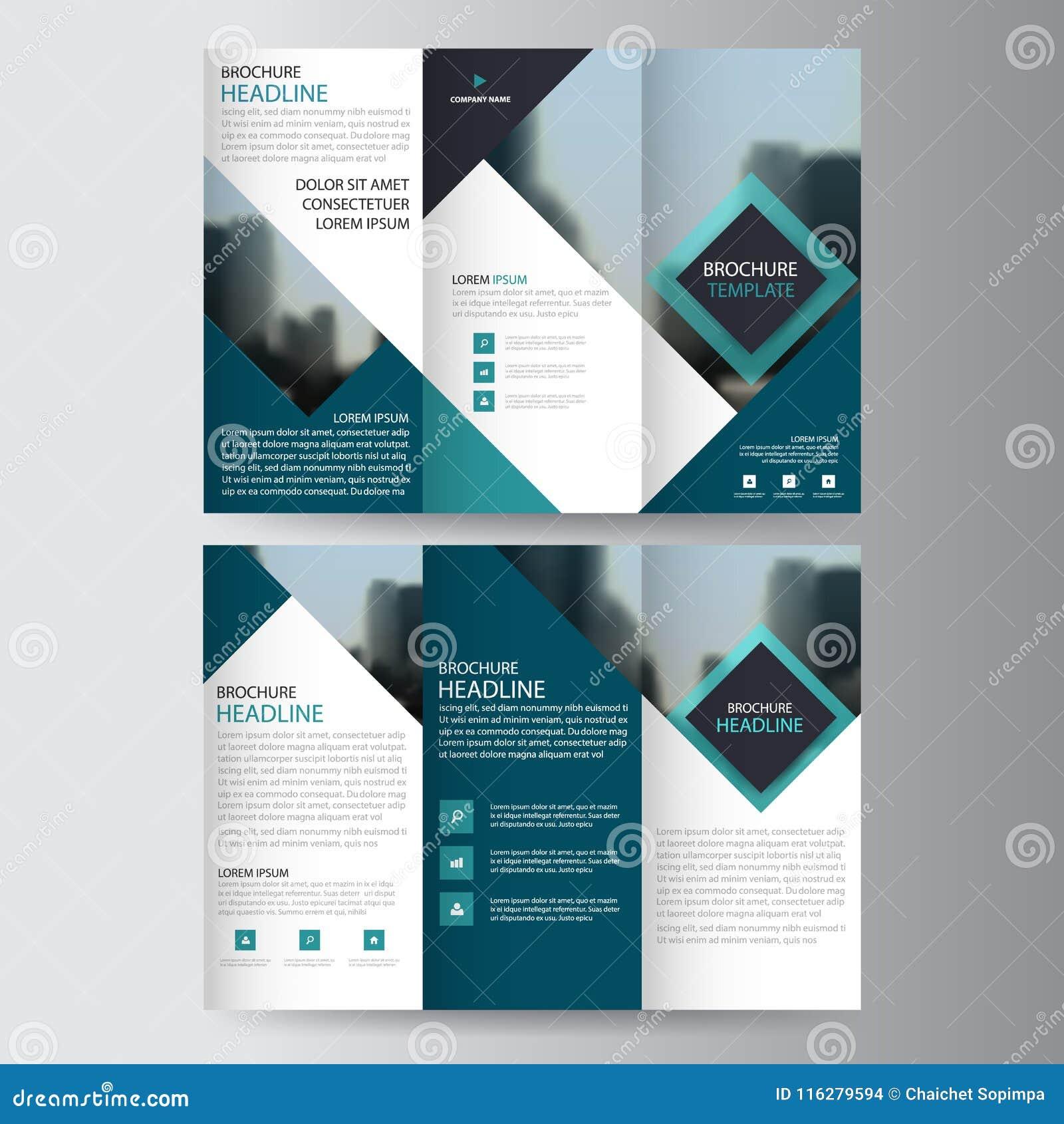 Sistema plano mínimo del diseño del triángulo del negocio del prospecto del folleto del aviador del informe del vector triple azu