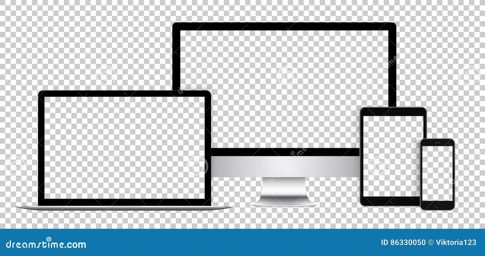 Sistema realista de dispositivos electrónicos, de la exhibición negra, del ordenador portátil, de la tableta y del teléfono con l
