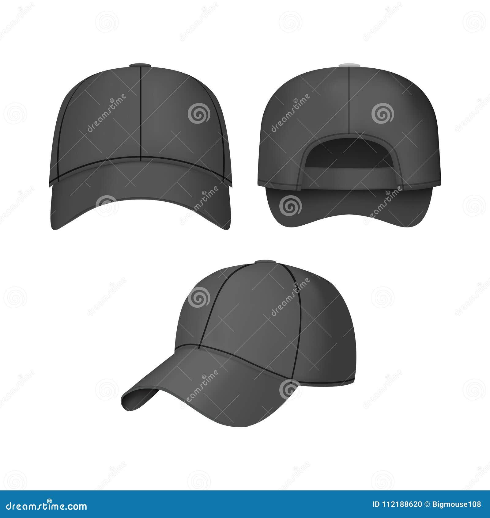 La gorra de béisbol realista del negro 3d fijó detrás el frente y vistas  laterales en fondo ligero Ejemplo del vector de los casquillos casuales de  la moda e28d3270b26