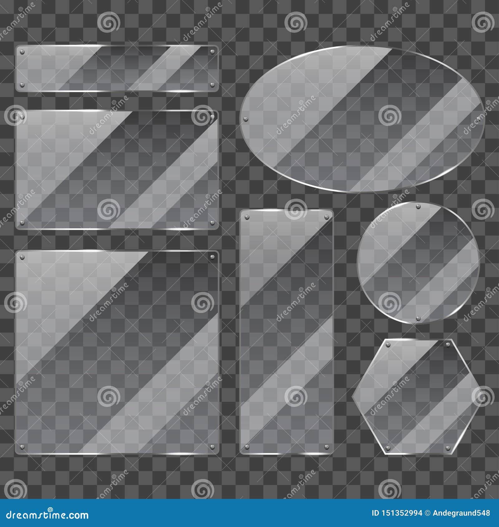 Sistema realista del vector de la foto de cristal transparente de los marcos