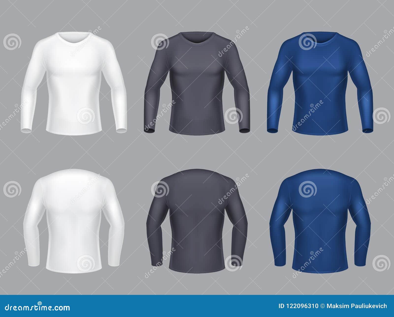 081e8efcb Sistema Realista Del Vector De Las Camisas De Manga Larga Masculinas ...