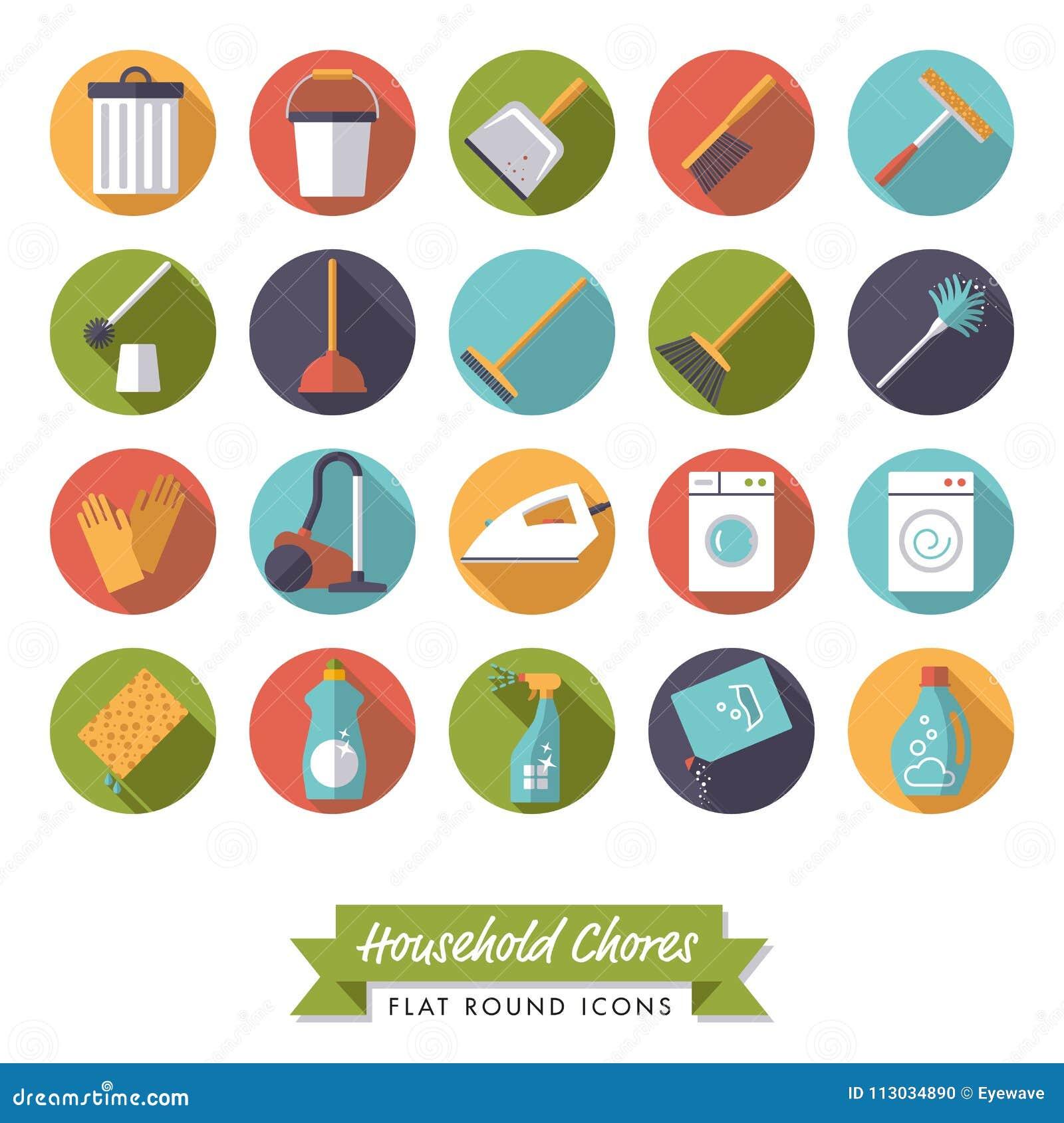 Sistema redondo del icono del diseño plano de las tareas de hogar
