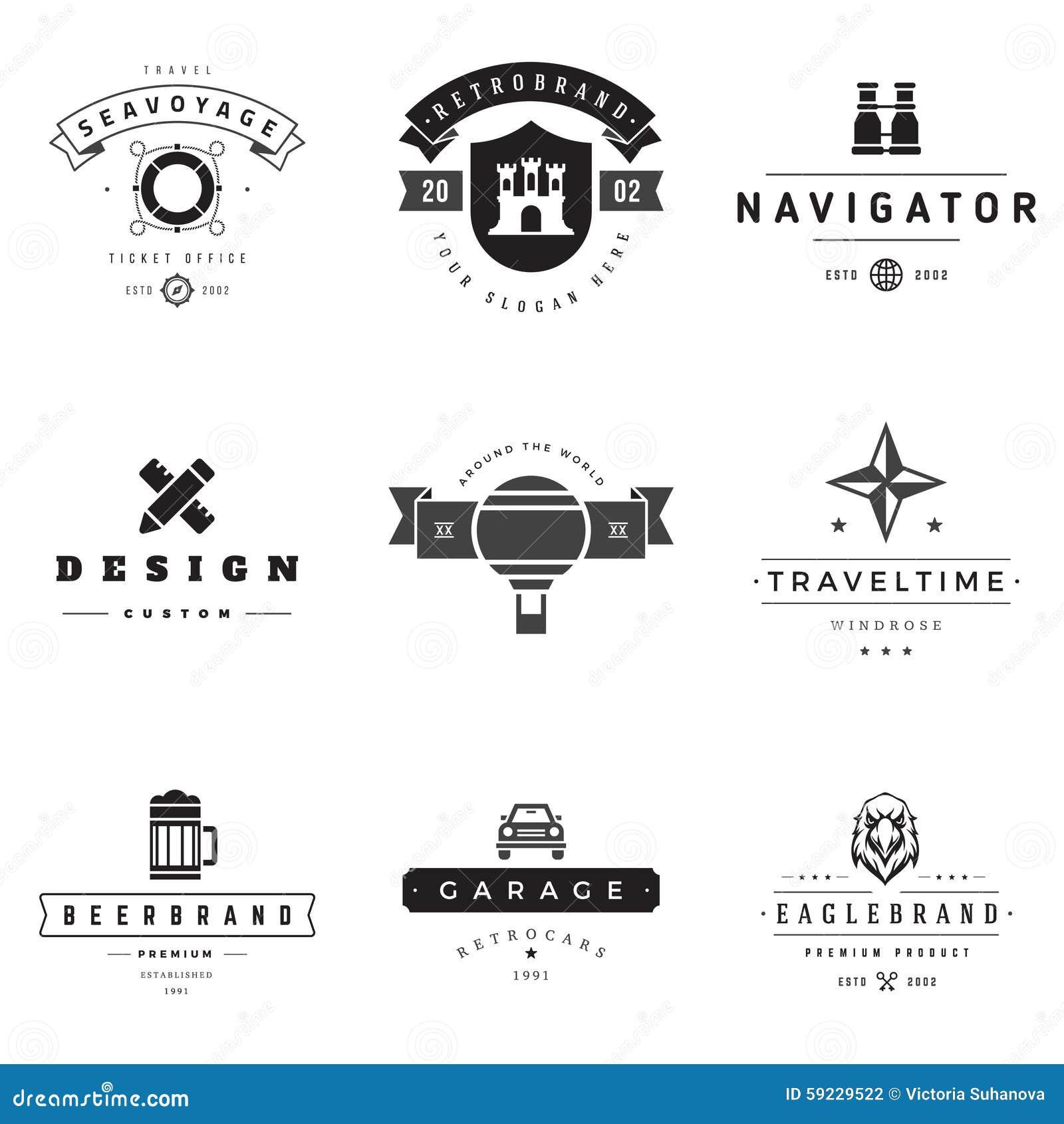 Sistema retro del vector de los logotipos