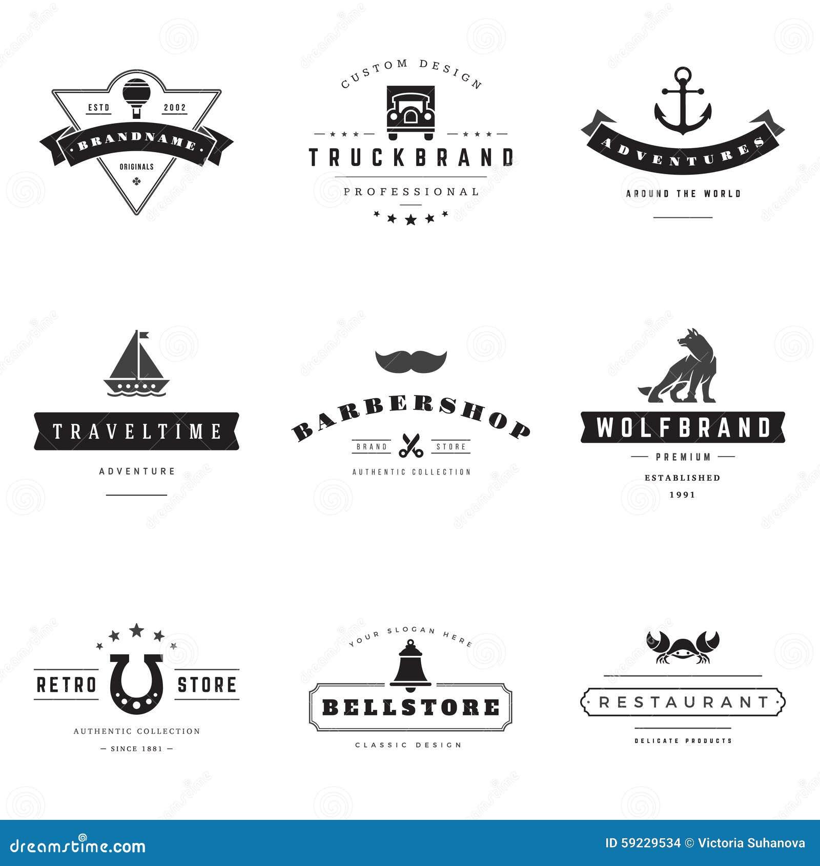 Download Sistema Retro Del Vector De Los Logotipos Ilustración del Vector - Ilustración de restaurante, insignia: 59229534