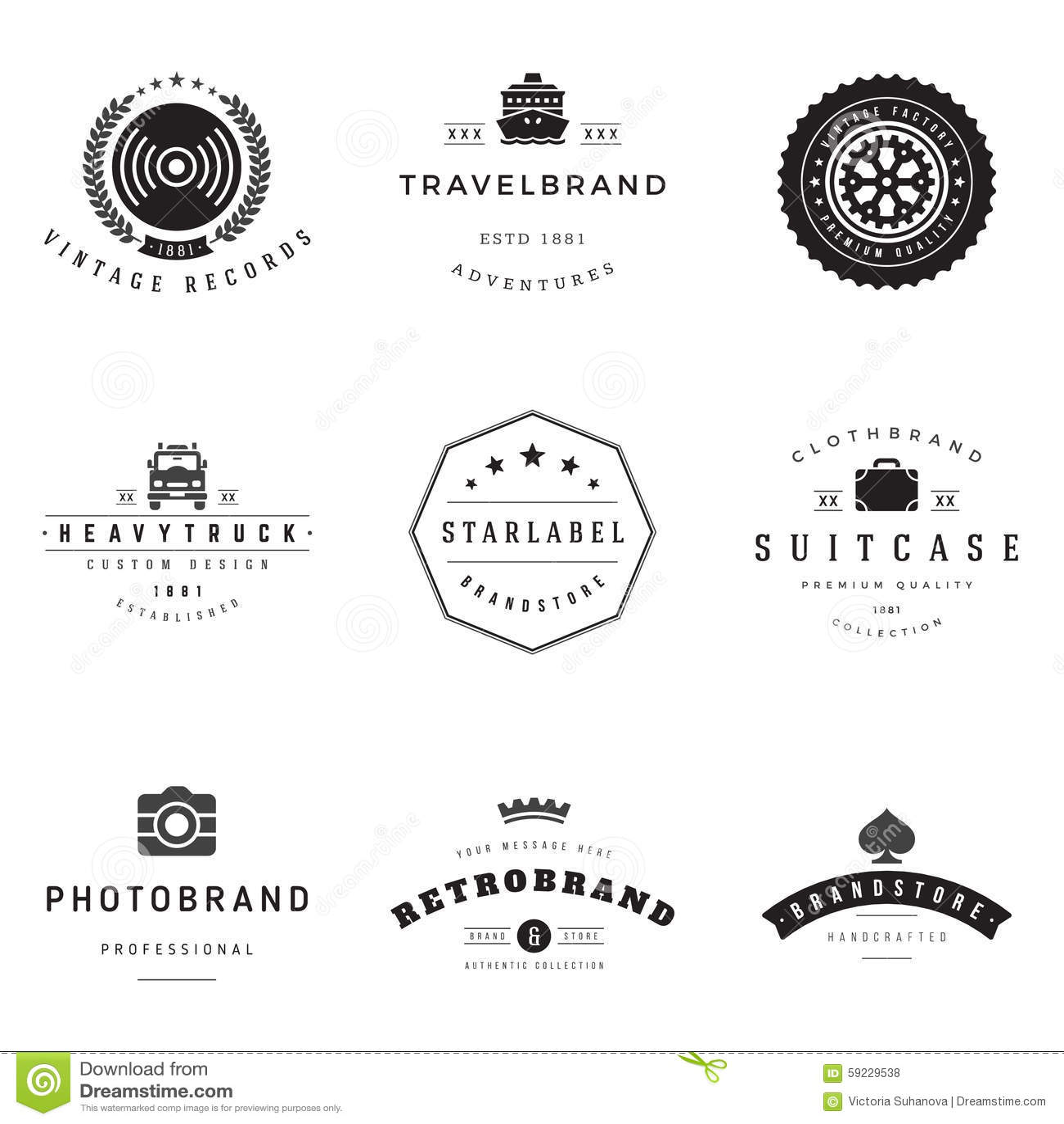 Download Sistema Retro Del Vector De Los Logotipos Ilustración del Vector - Ilustración de negocios, elemento: 59229538