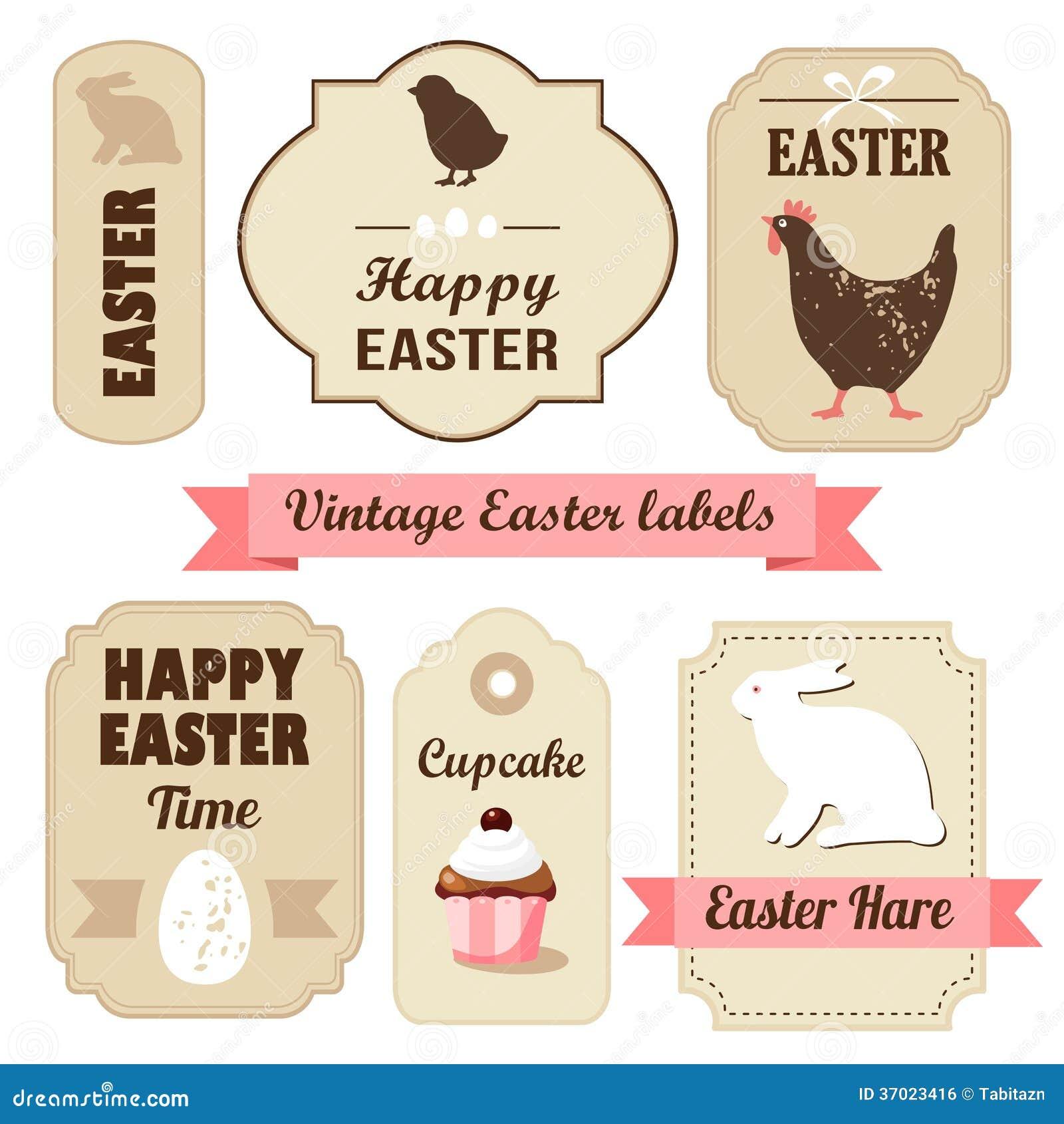 Sistema retro lindo de pascua de etiquetas con los huevos, el pollo, el conejito, las cintas y otros elementos, ejemplo