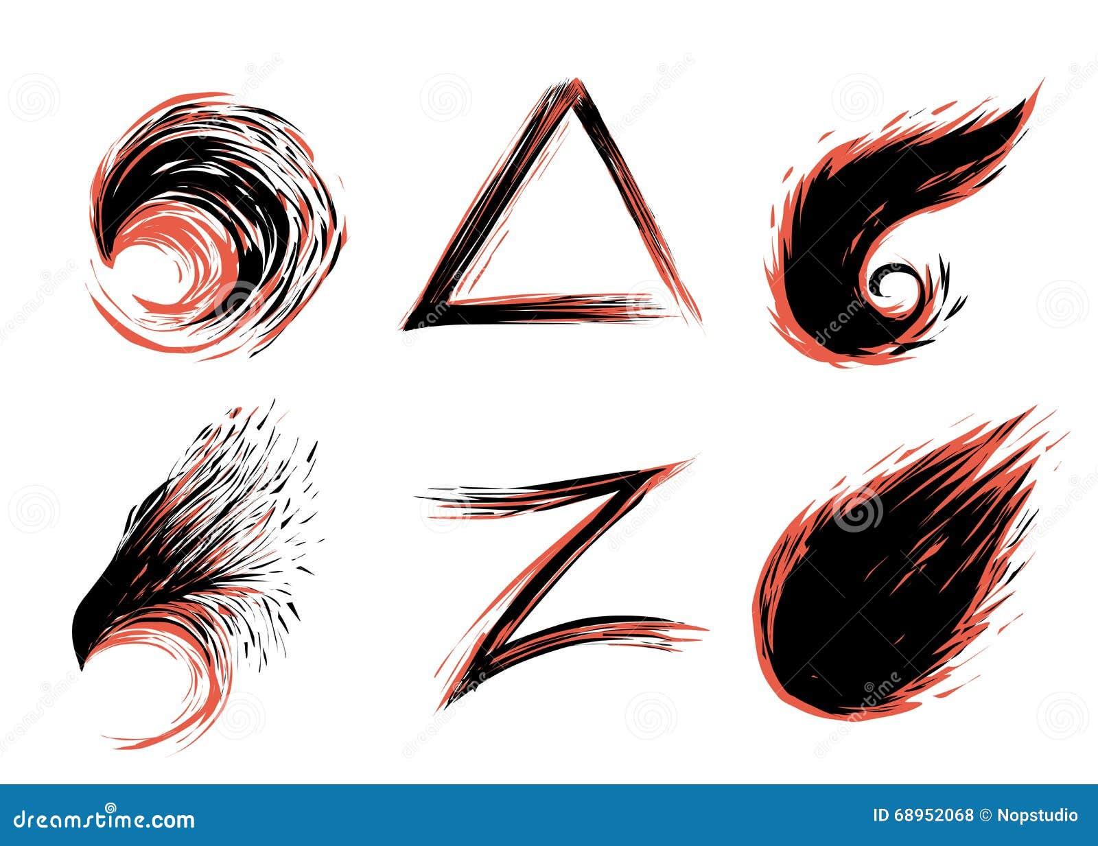 Sistema Rojo Y Negro Del Tatuaje Ilustración Del Vector
