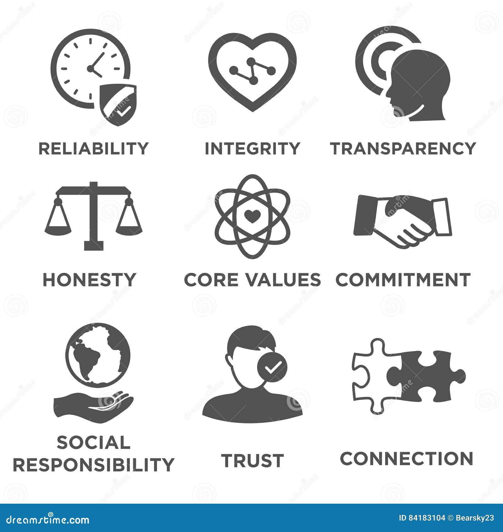 Sistema sólido del icono de la ética empresarial