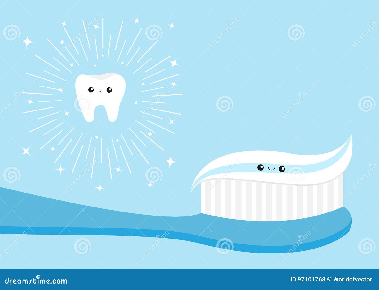 Sistema Sano Del Icono Del Diente Crema Dental Del Cepillo De
