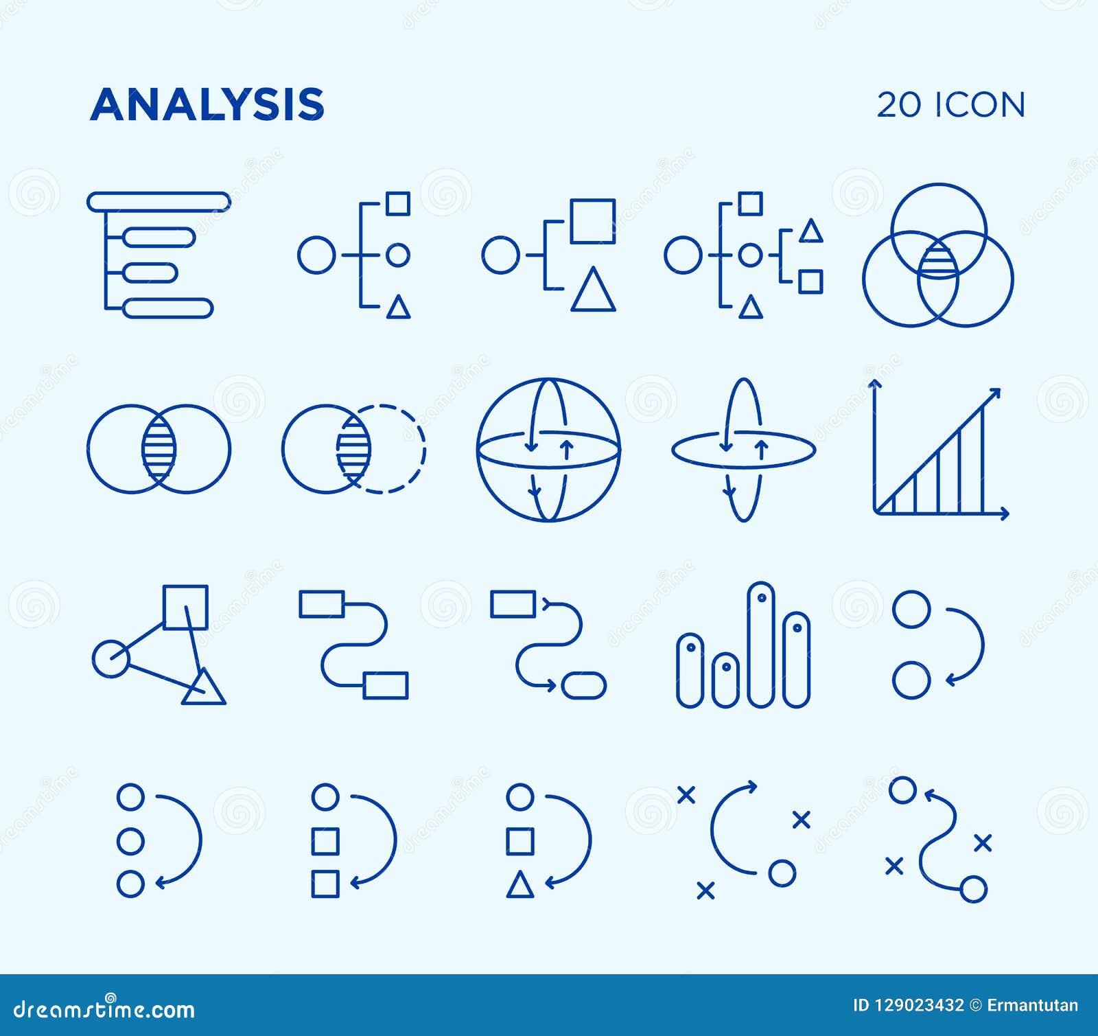 Sistema simple de análisis diagramas Línea iconos del vector